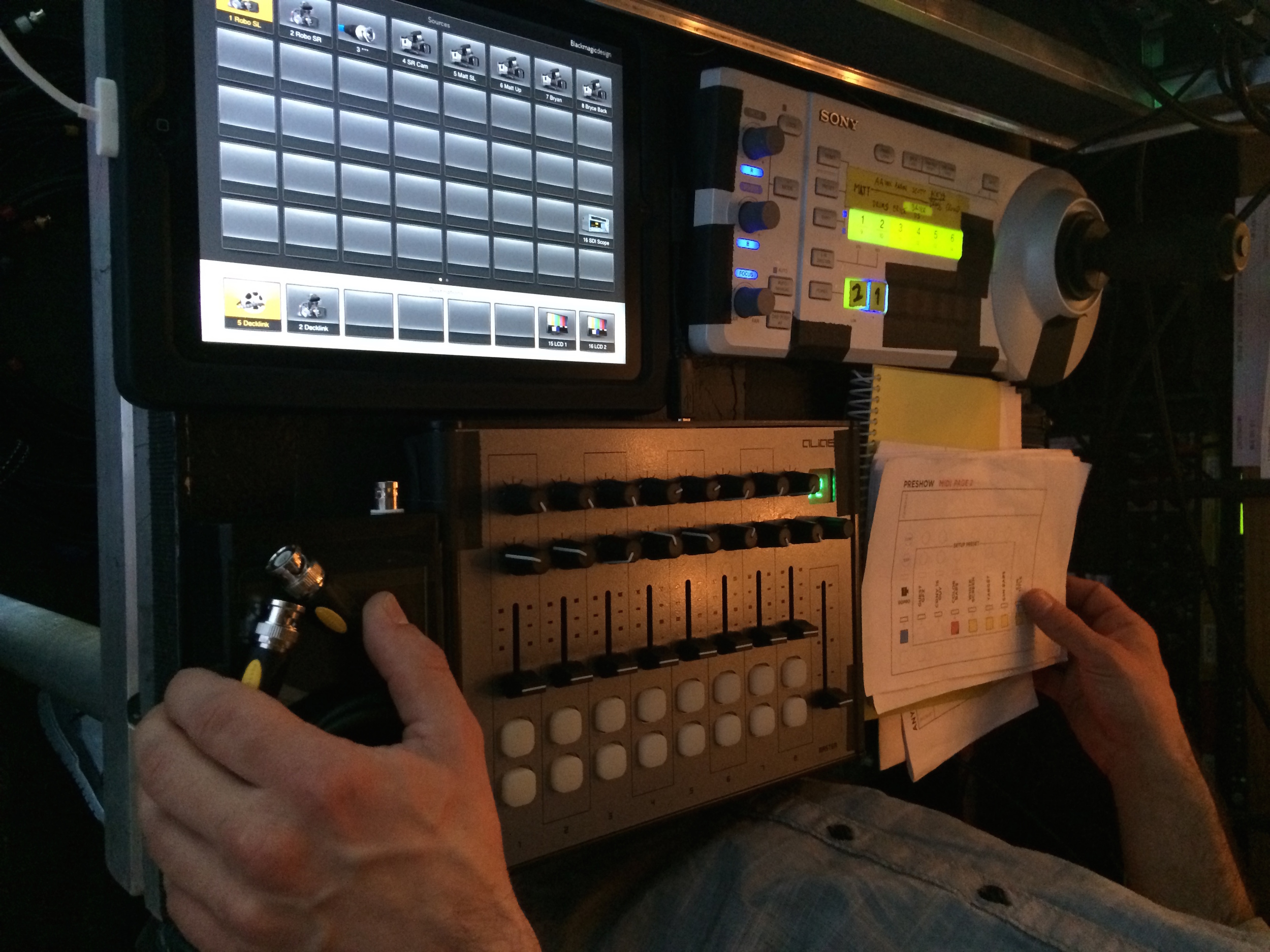 Controls for live camera switching and visuals.