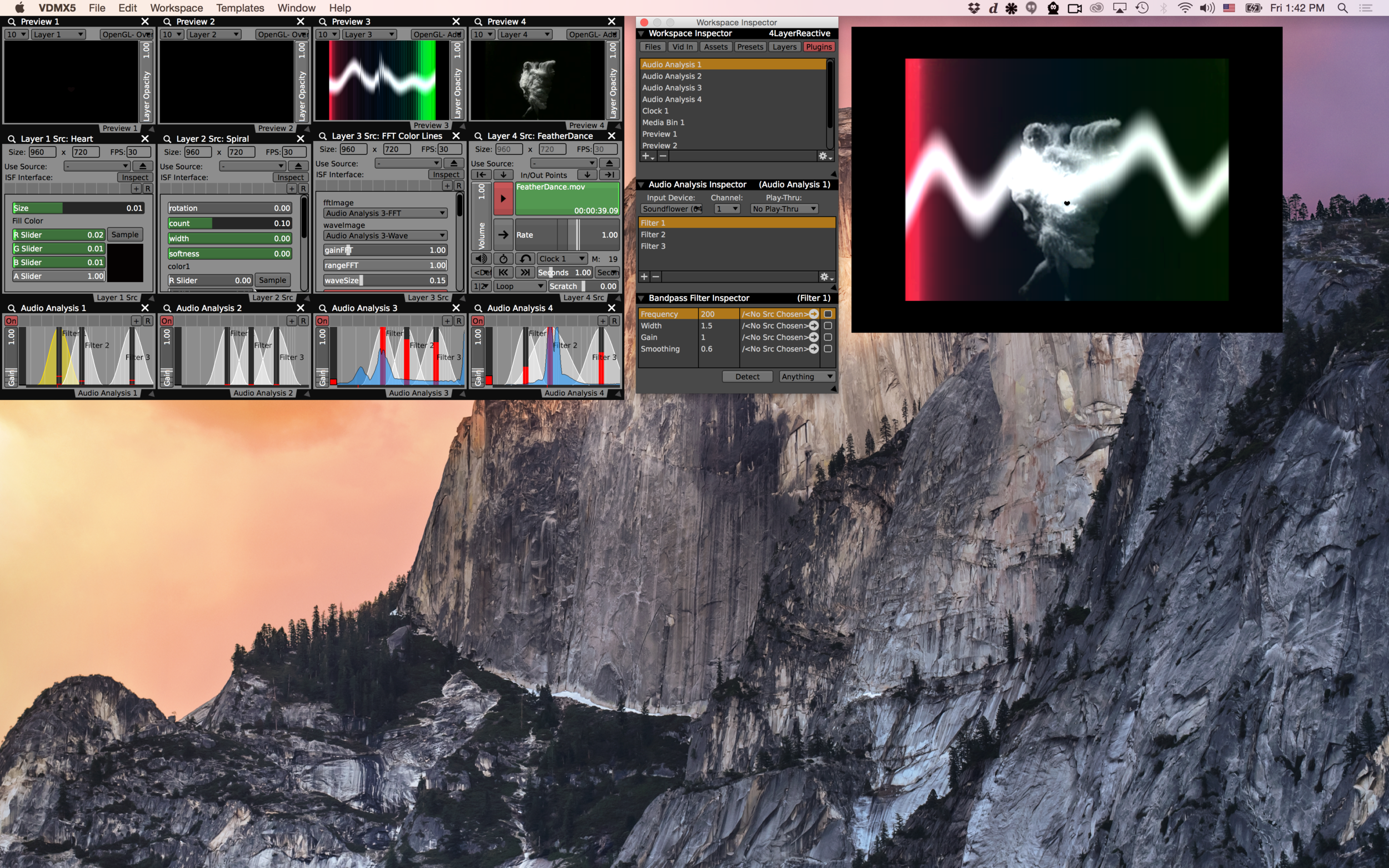 Analyzing multi-track audio from Live in VDMX using
