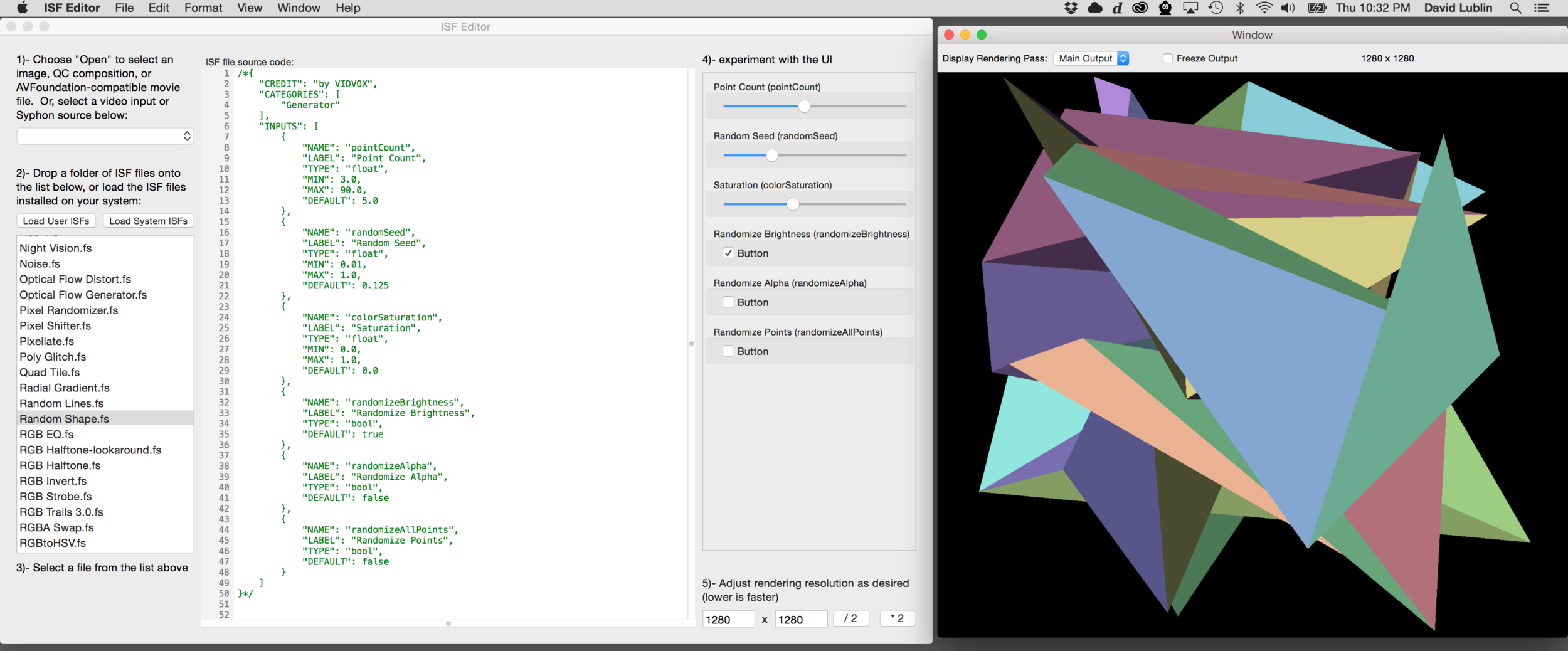 Using the ISF Editor To Create GLSL Generators and FX — VDMX
