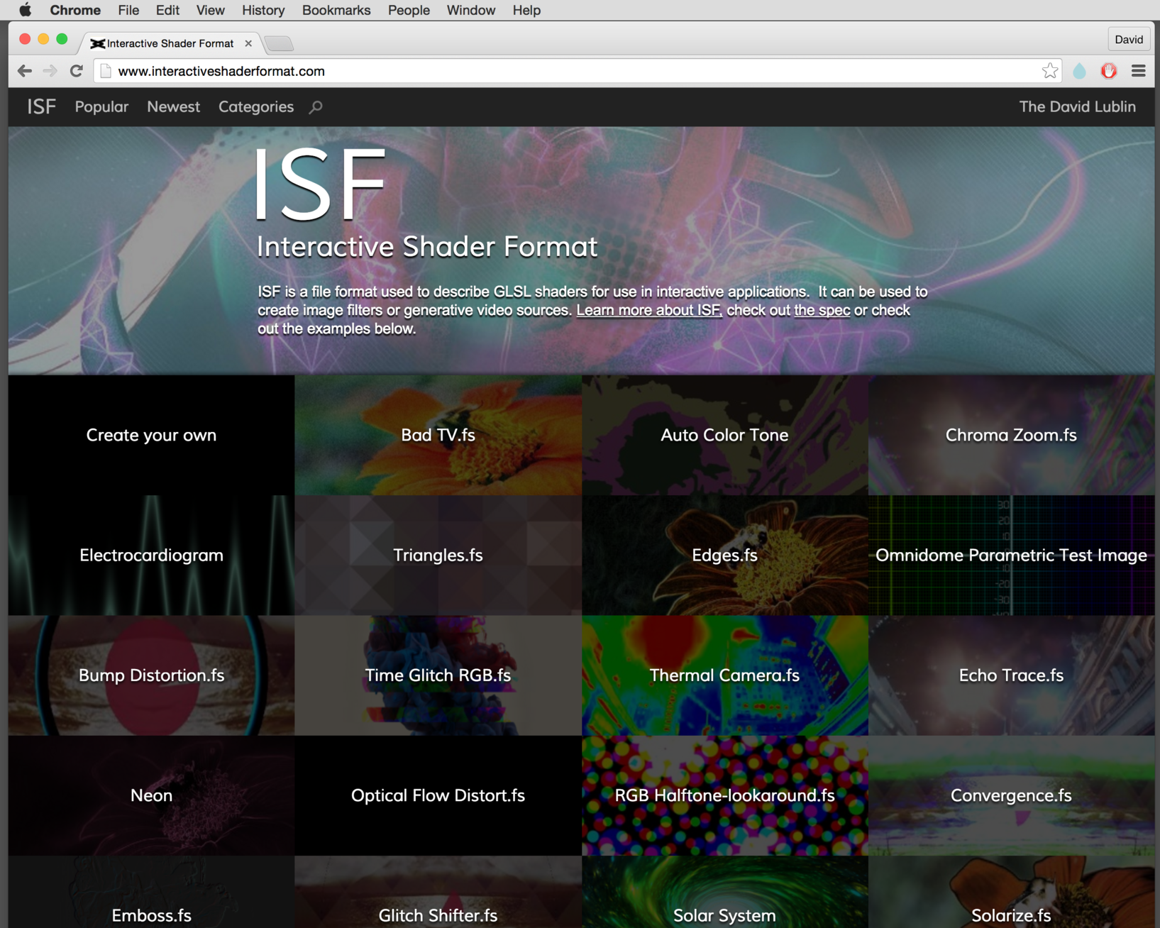 http://www.interactiveshaderformat.com/ has more example ISF files to get started.