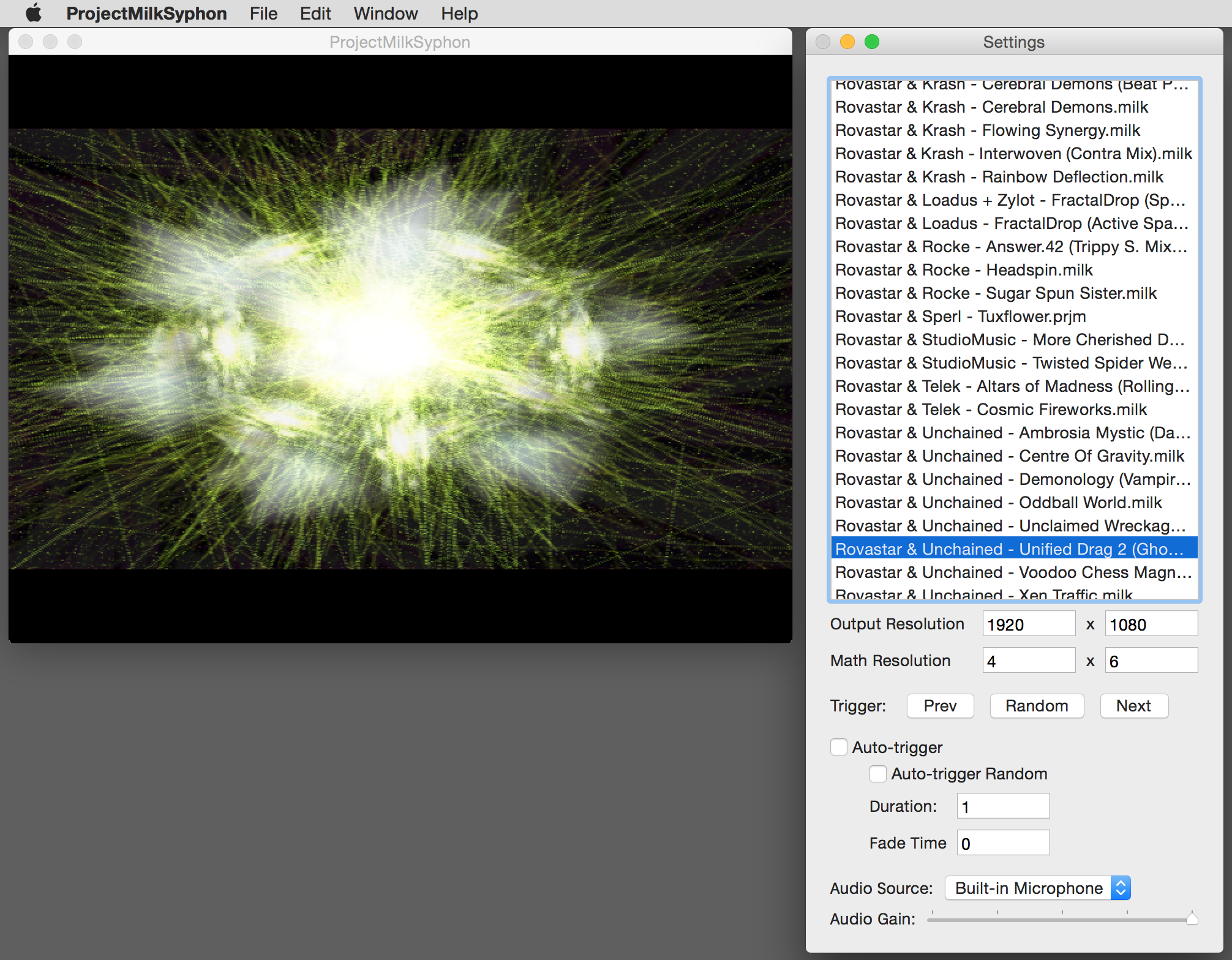 Use apps like ProjectMilkSyphon as a source in your favorite VJ software.