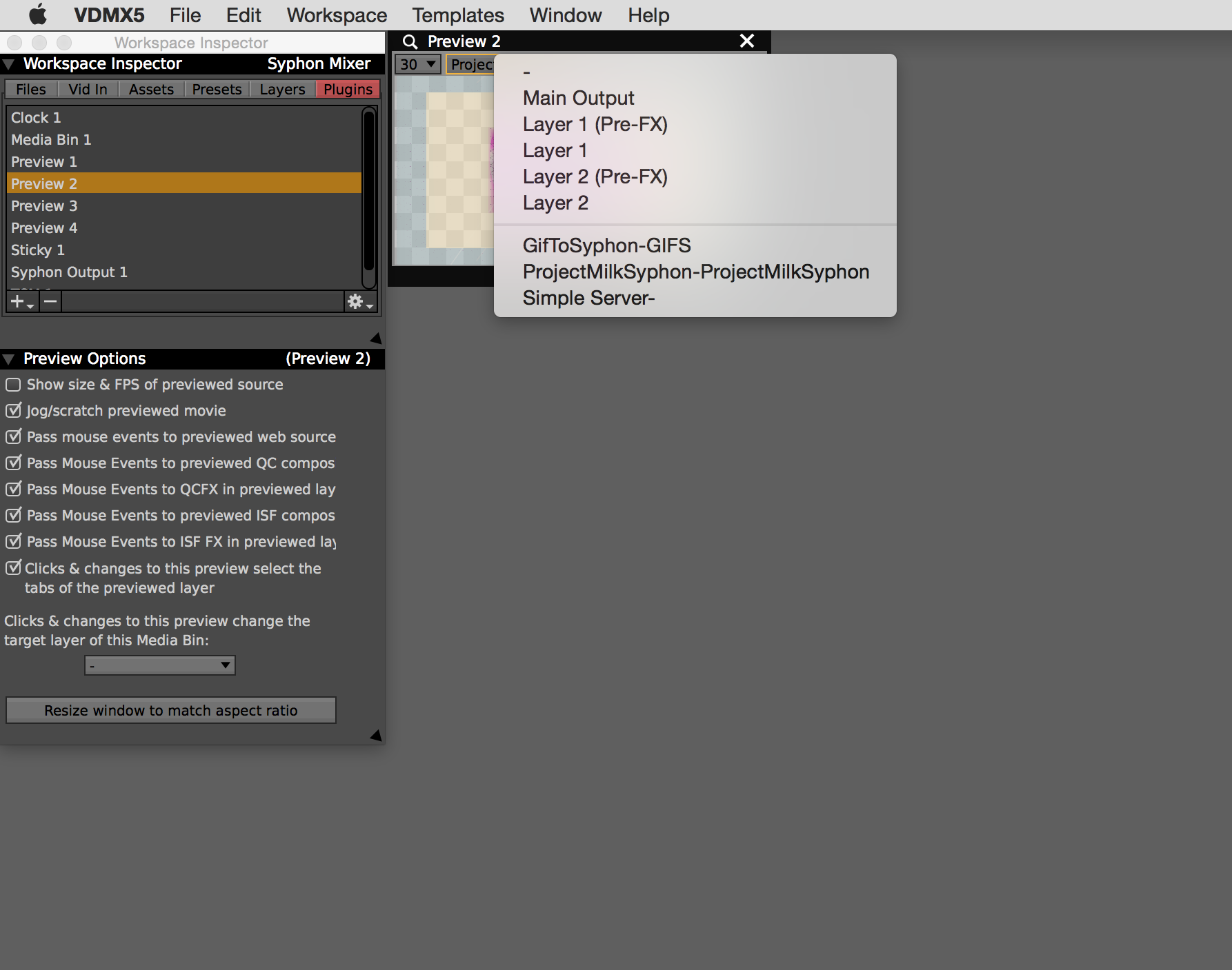Preview plugin can view  Syphon sources  even when not active on a layer.