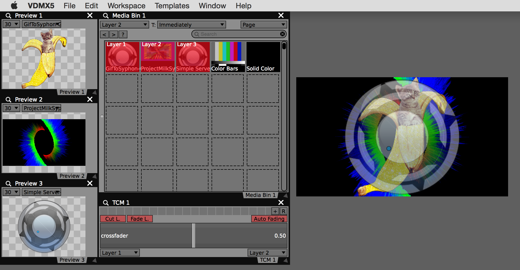 Mixing three Syphon sources in VDMX