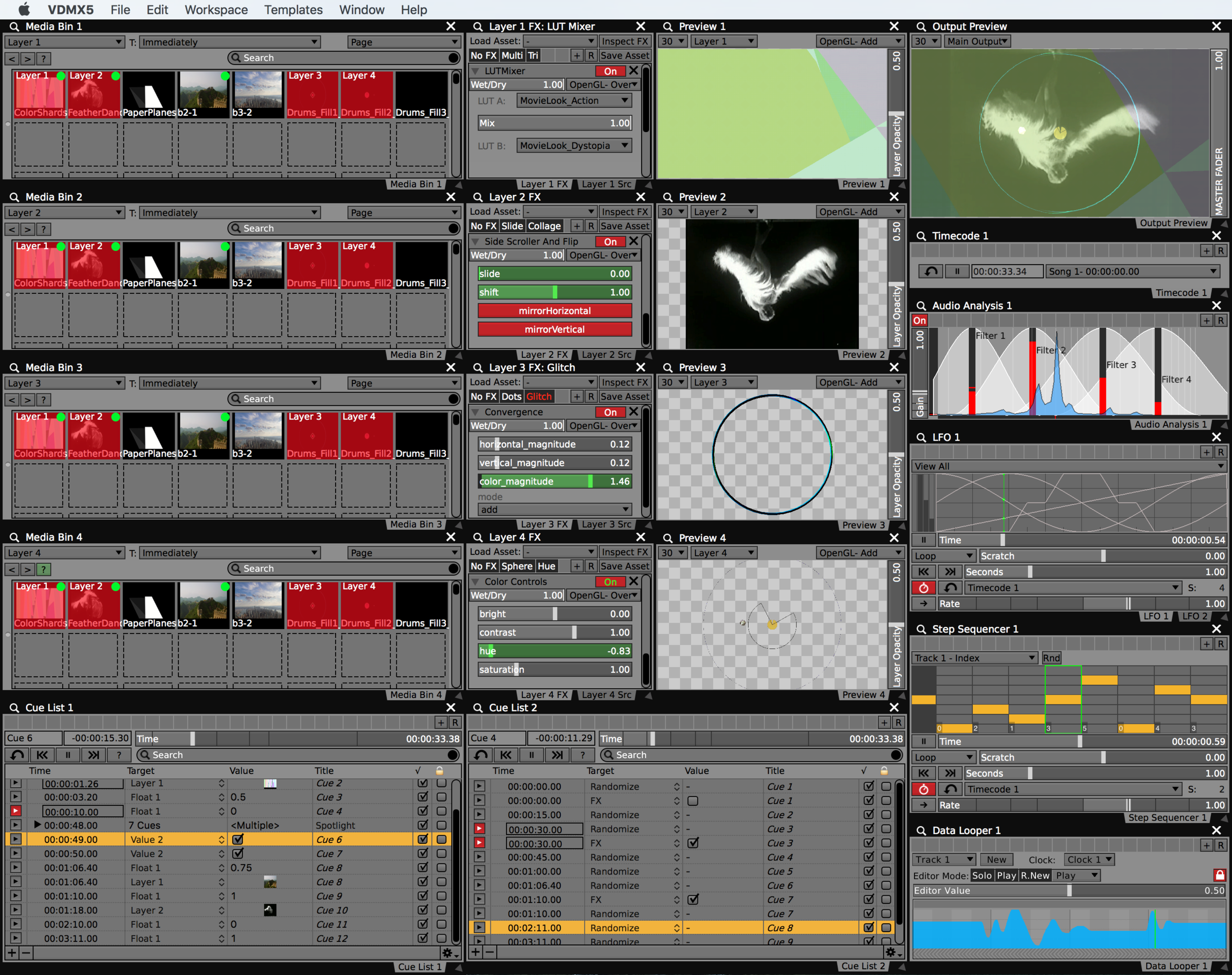 New Timecode, Data Looper and Cue List plugins added to existing project.