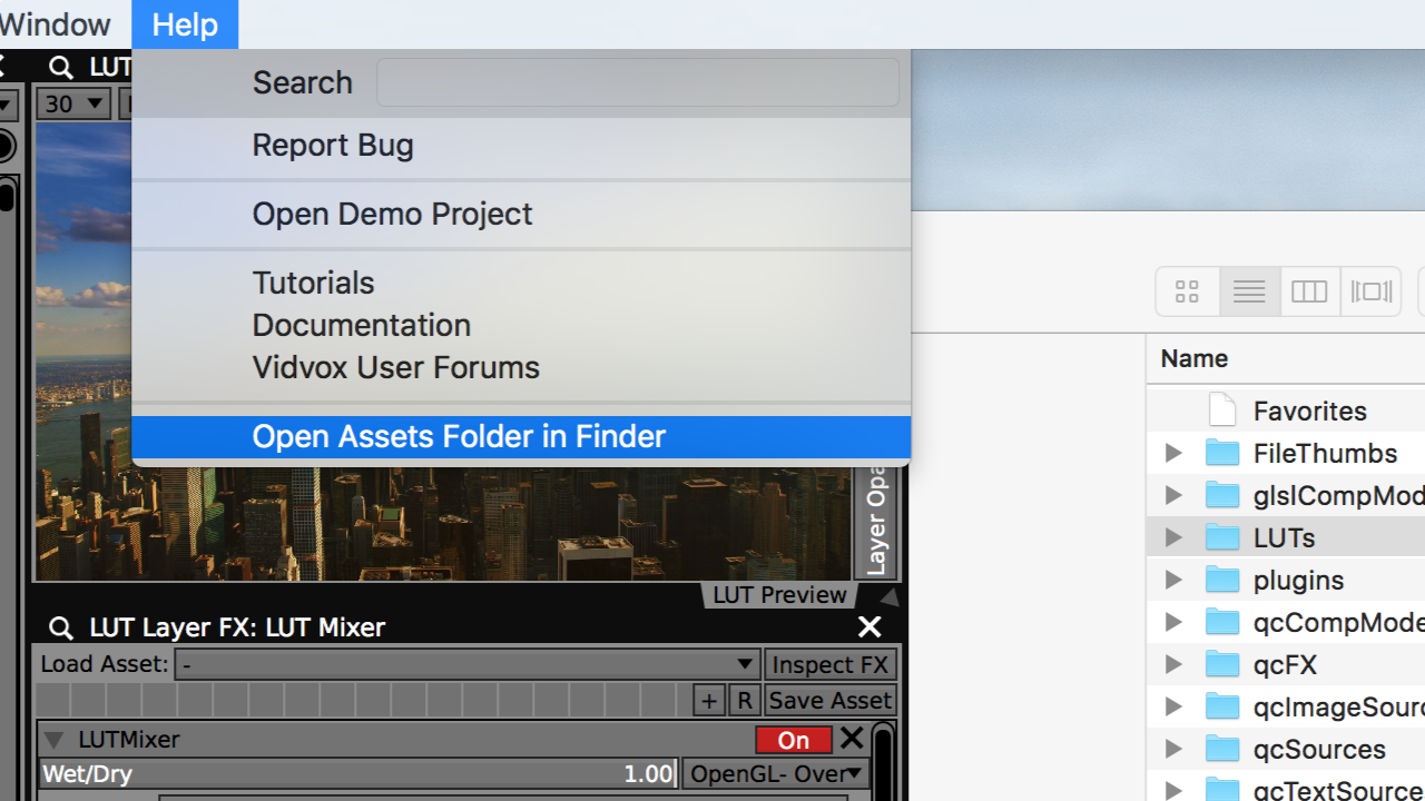 Access the LUTS Assets folder for VDMX from the Help menu.