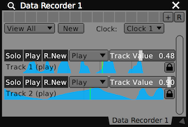 A Data Looper plugin displaying all of it's tracks, both of which are playing back.