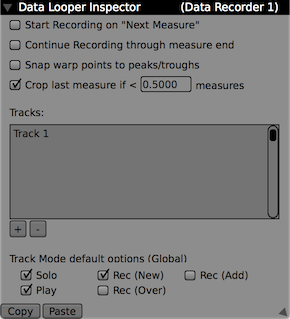The Data Looper's inspector options.