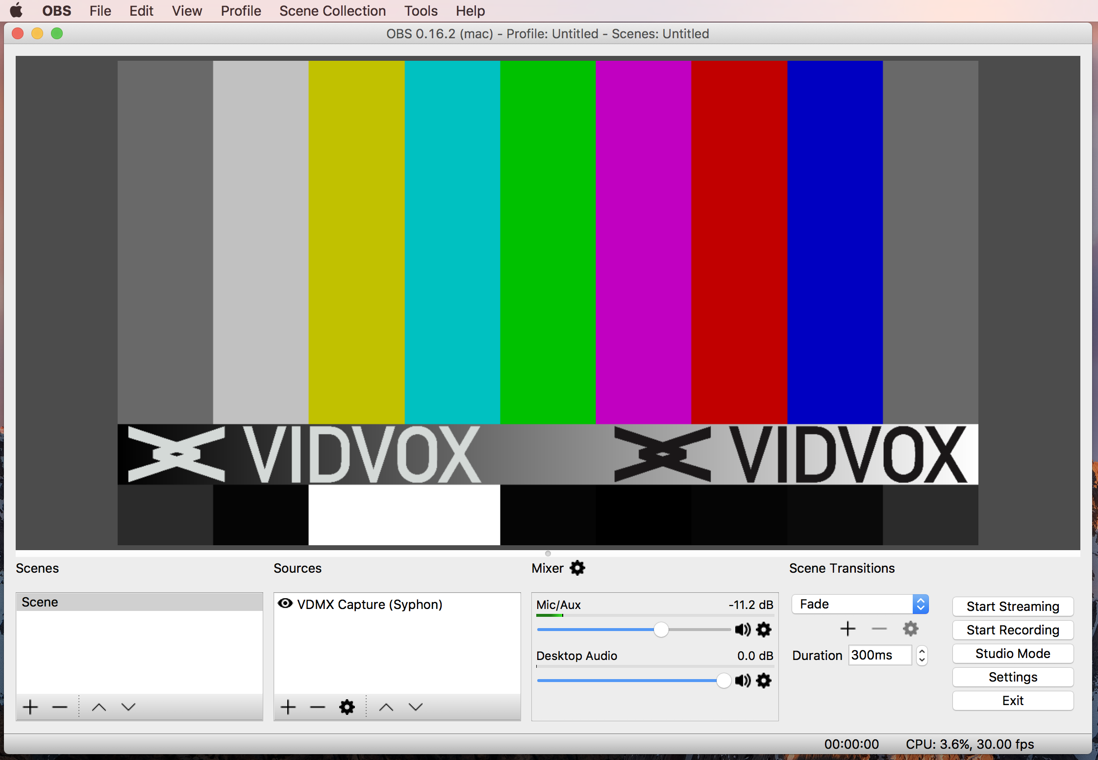 Use OBS to receive Syphon from VDMX and stream to Twitch.