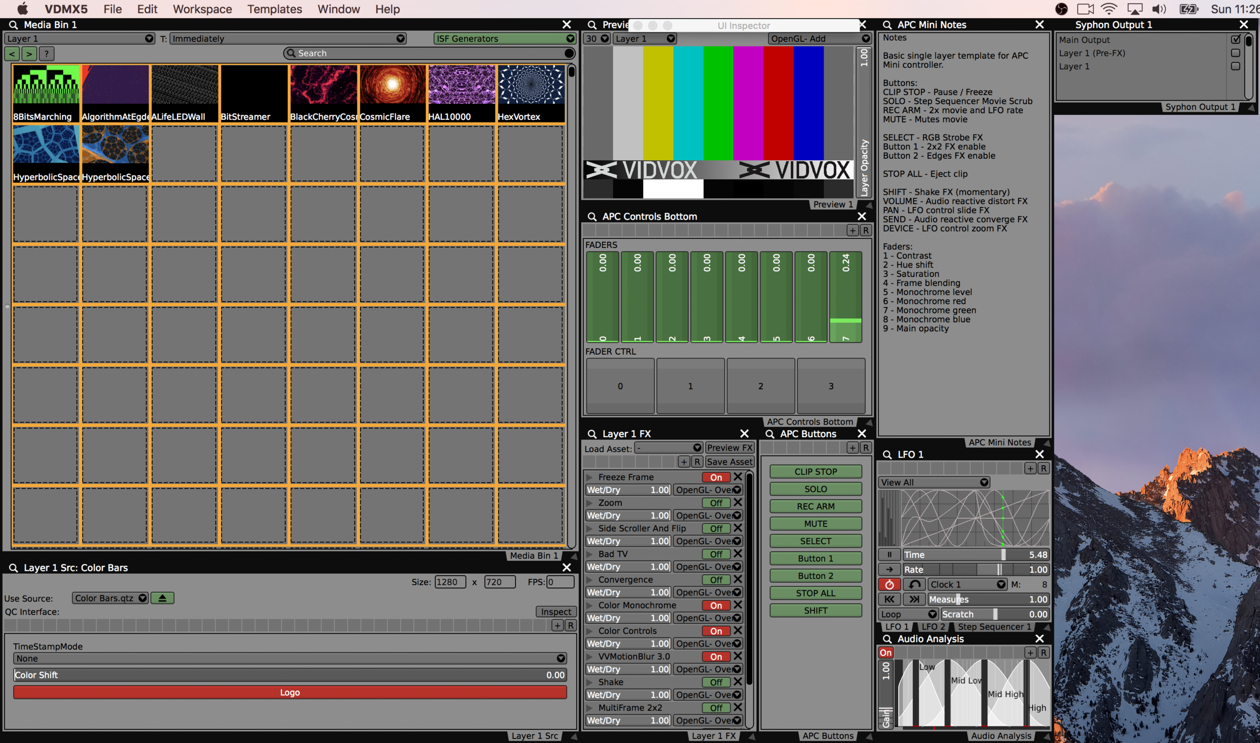 The Syphon Output plugin can be easily added to existing VDMX projects and templates.
