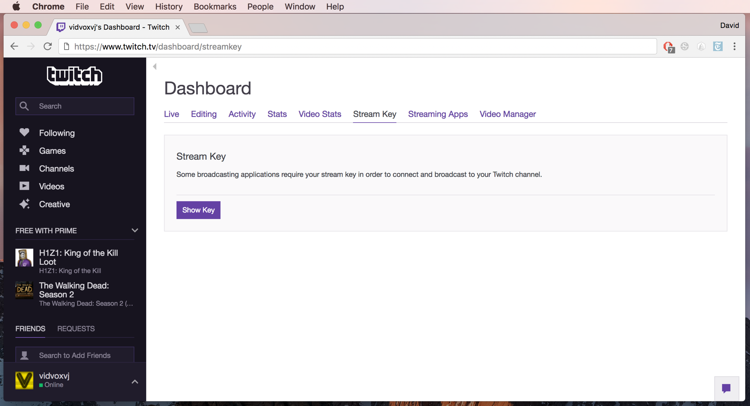 Go to the Twitch dashboard to find your Stream Key to use in the OBS preferences.