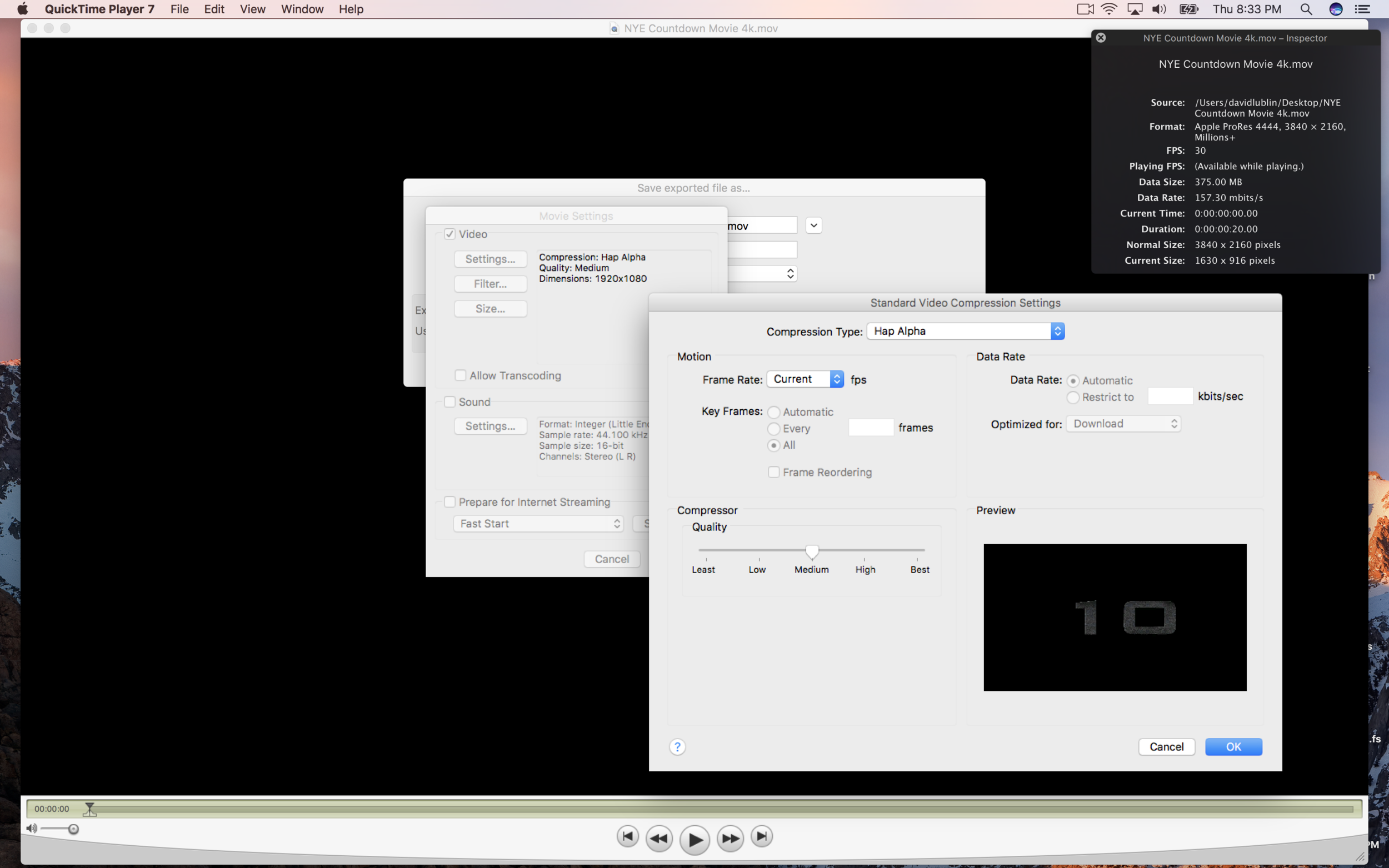 If needed use QuickTime Player 7 or the AVF Batch Converter to re-encode movies from ProRes 4444 to  Hap Alpha .