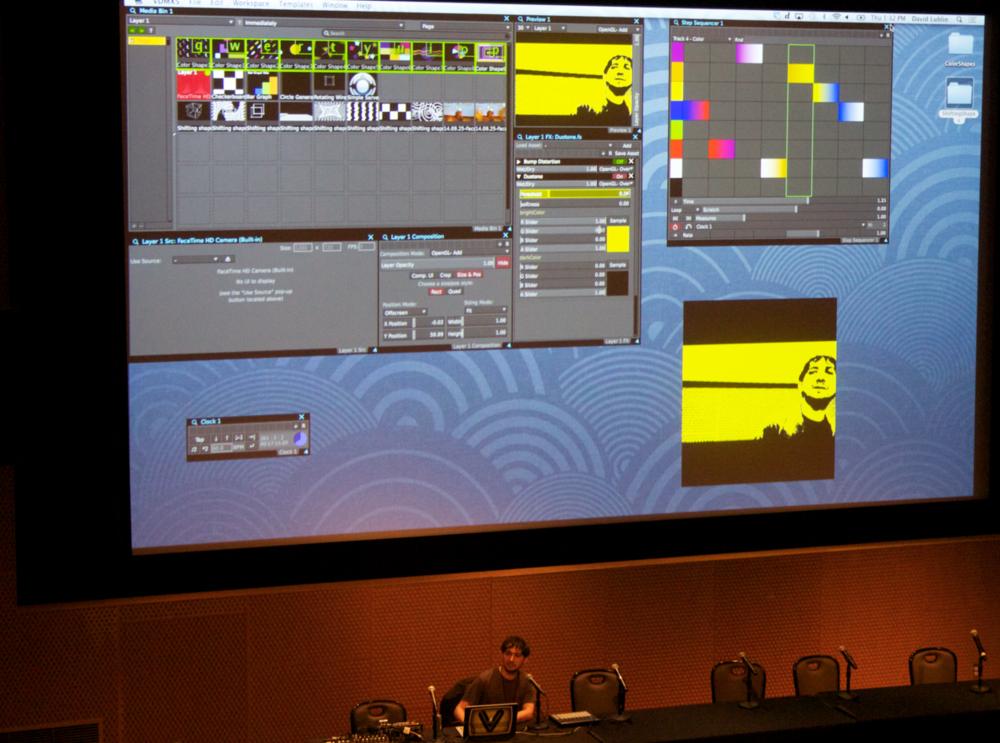 VIDVOX developer and VJ teacher David Lublin demonstrating how to use VDMX at Decibel Festival 2014.