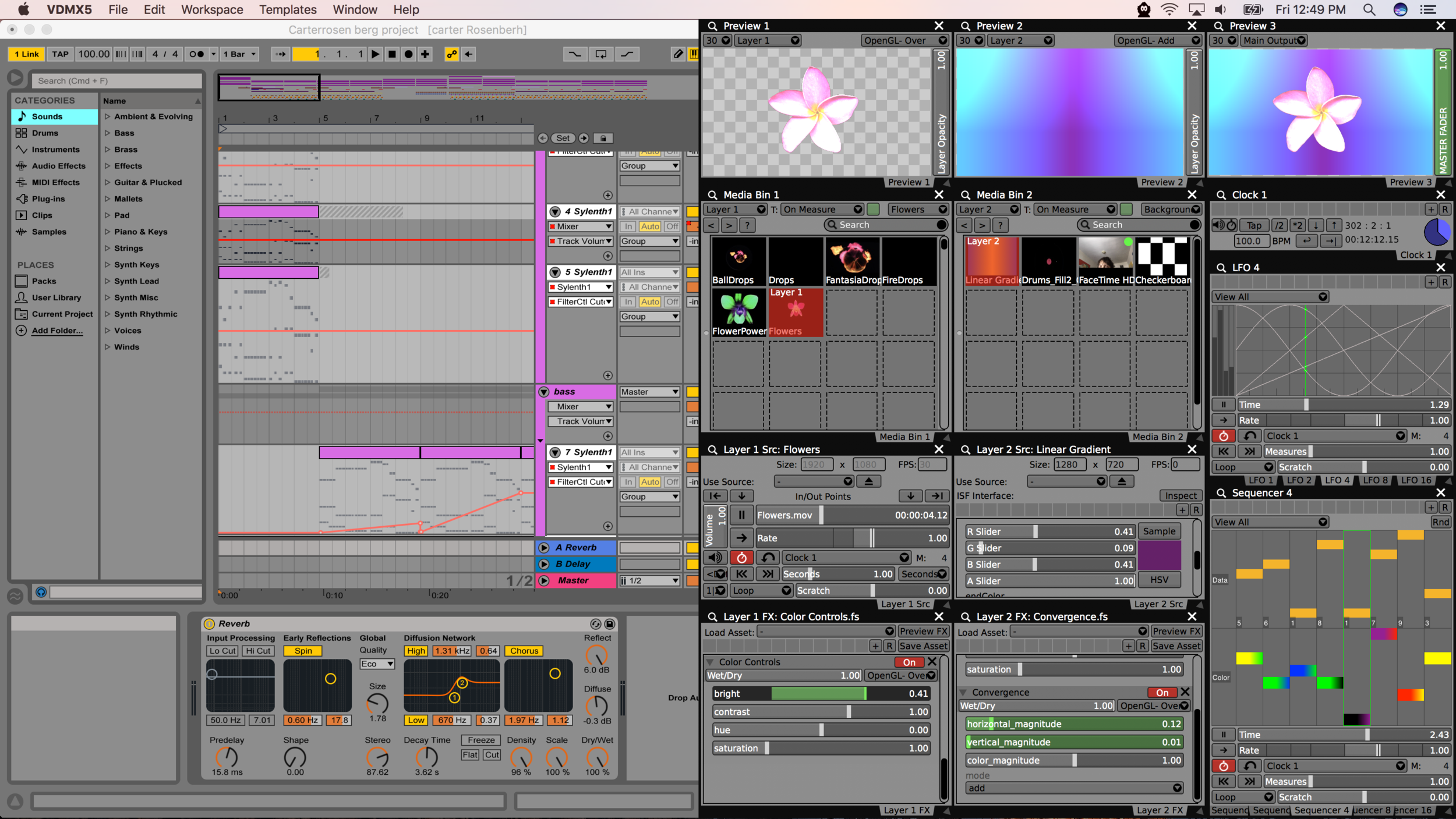 Ableton Live and VDMX connected by Ableton Link