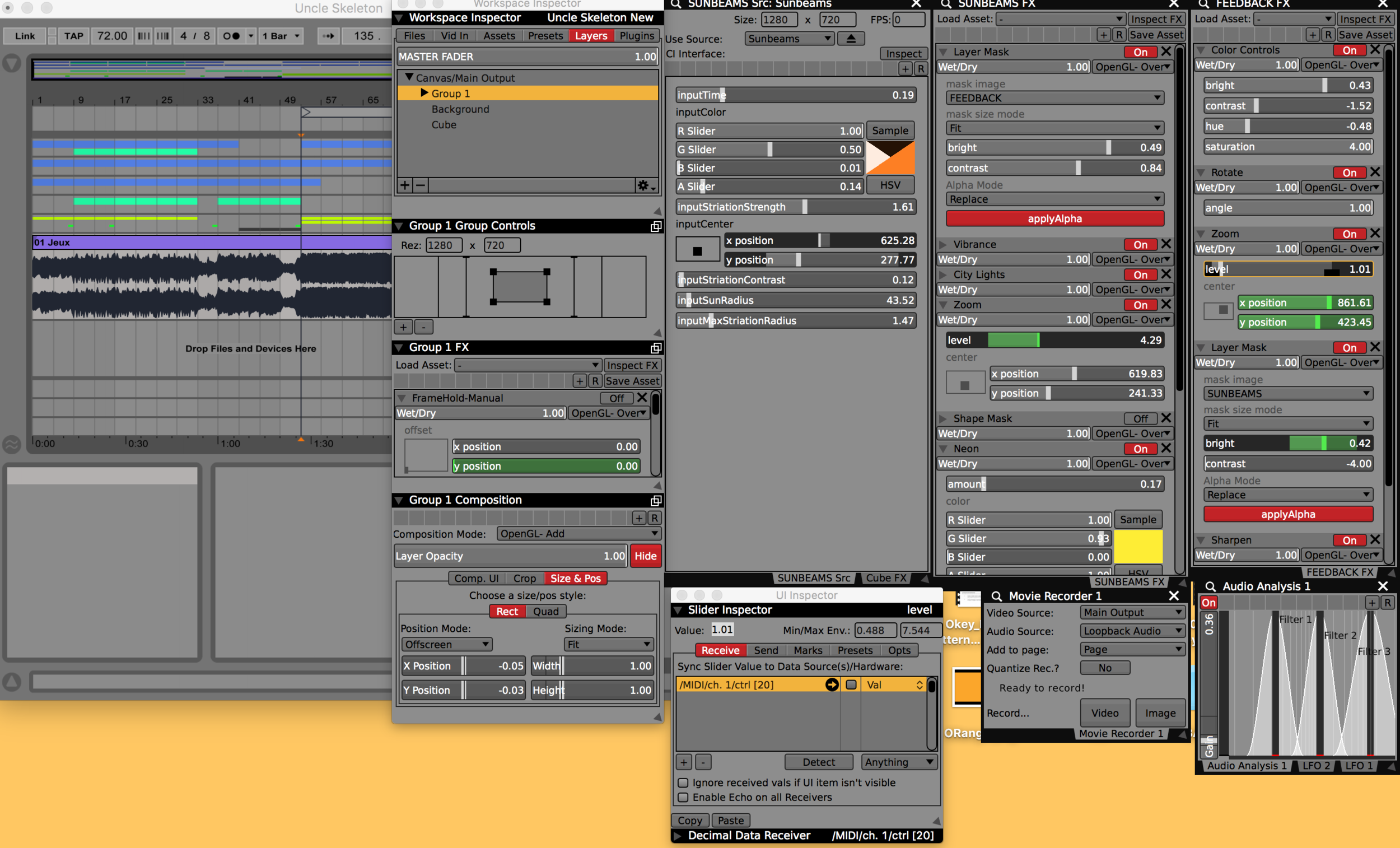 VDMX Setup for making Jeux music video