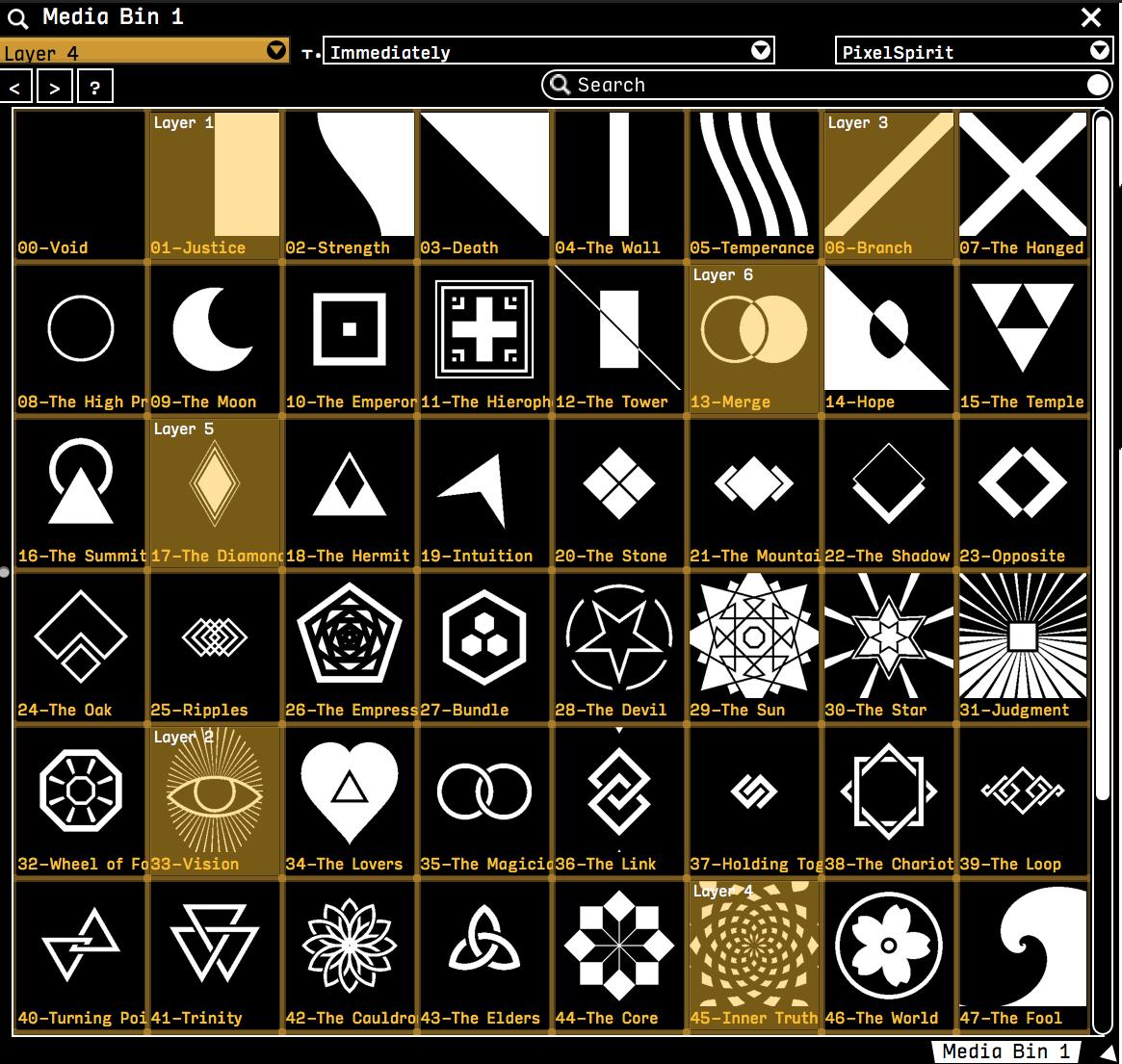 Pixel Spirit shaders loaded into a VDMX media bin