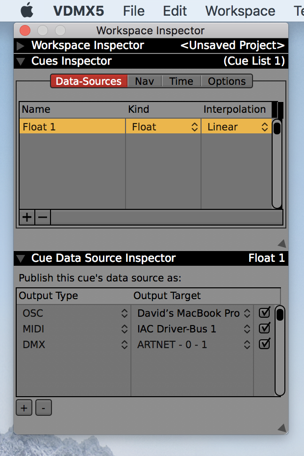 The sub-inspector for each data-source in a Cue List can be used to directly send to multiple MIDI, OSC and DMX targets for each item.