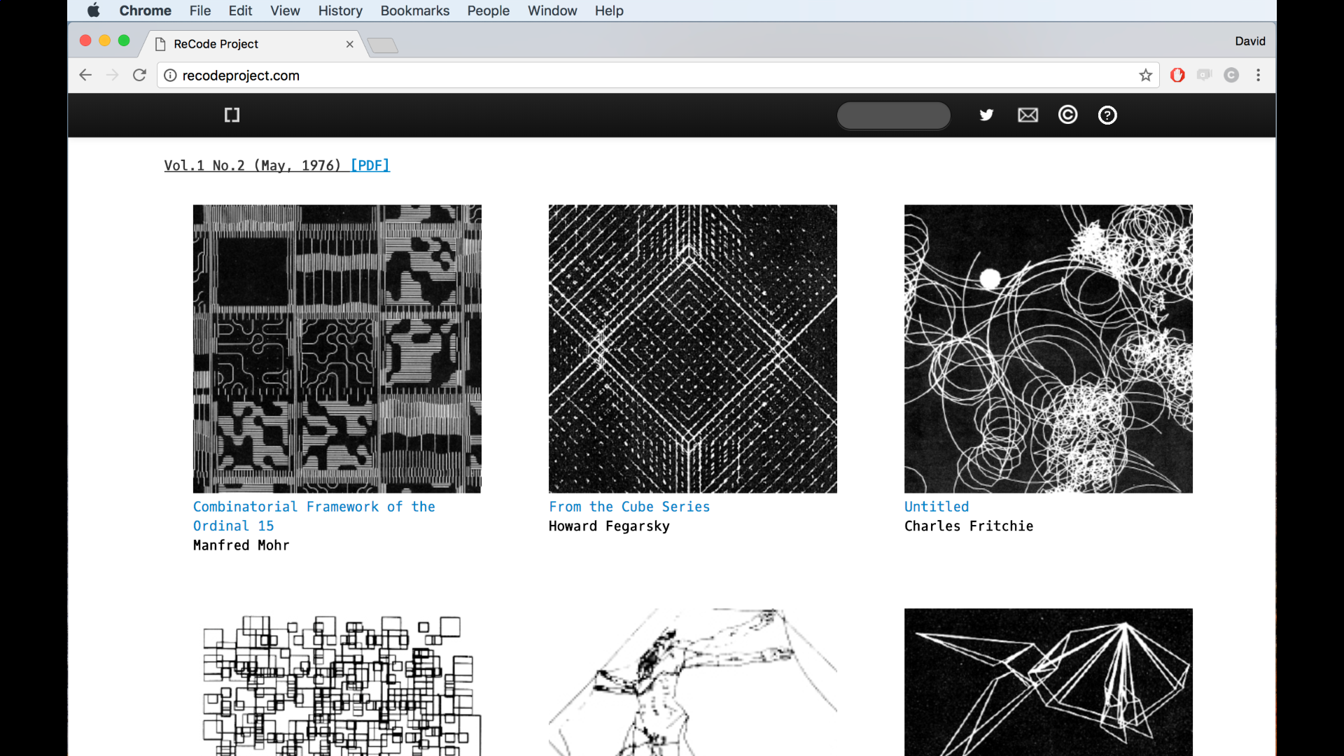 Visit  Project Recode  to see examples of classic computer art recreated with Processing