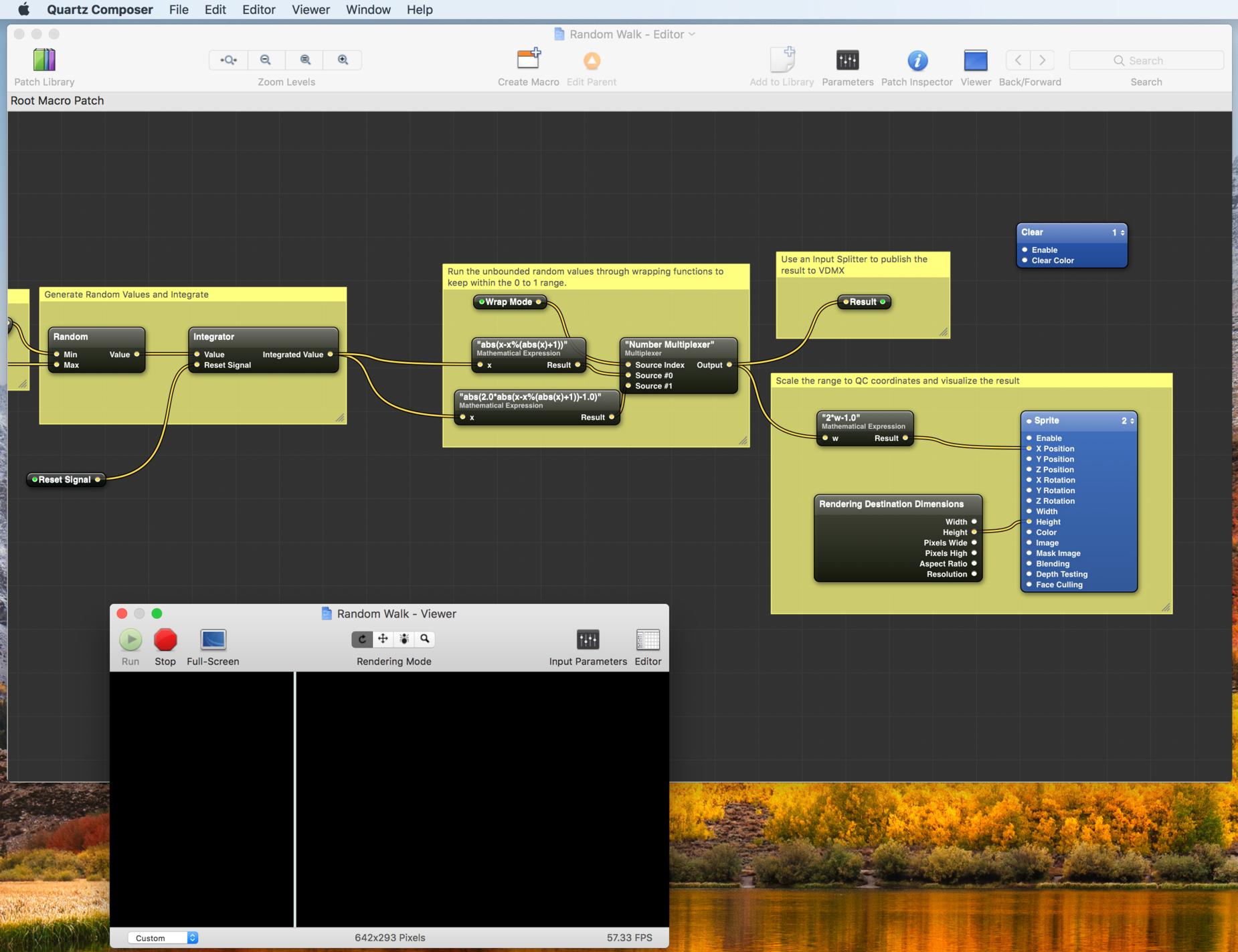 """Editing the """"Random Walk"""" plugin in Quartz Composer."""