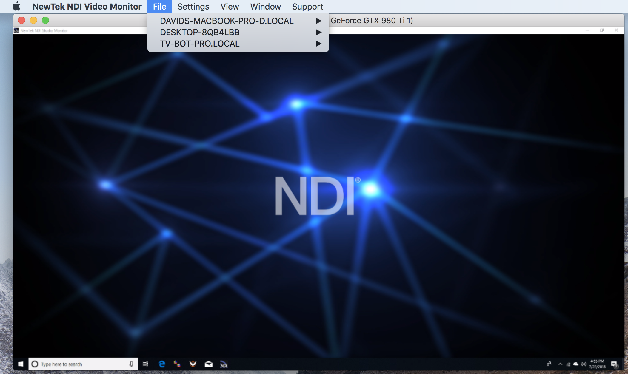 Though not required, NewTek provides two  useful free utilities : The NDI Video Monitor and the NDI Scan Converter.