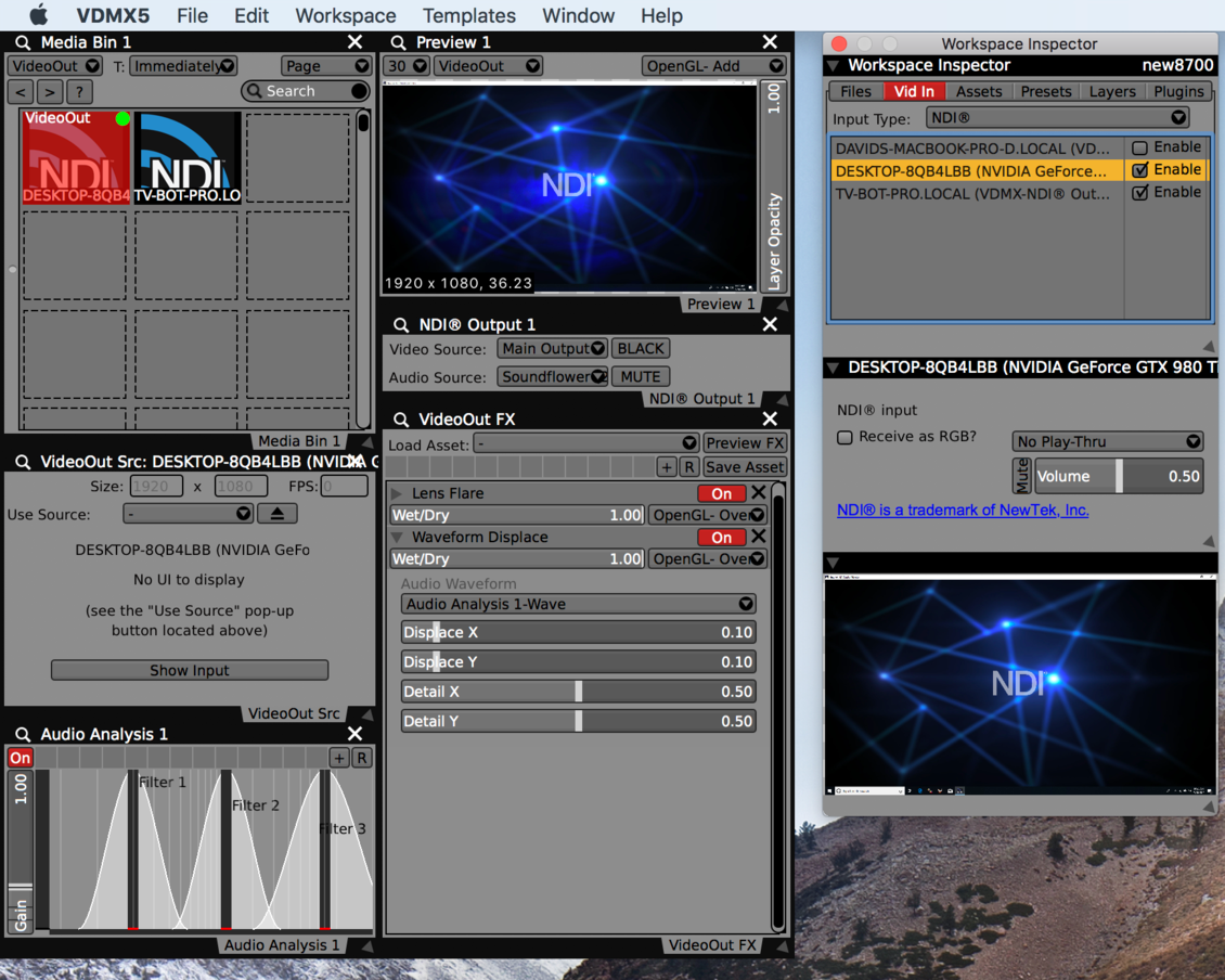 Sending and receiving NDI® video streams in VDMX