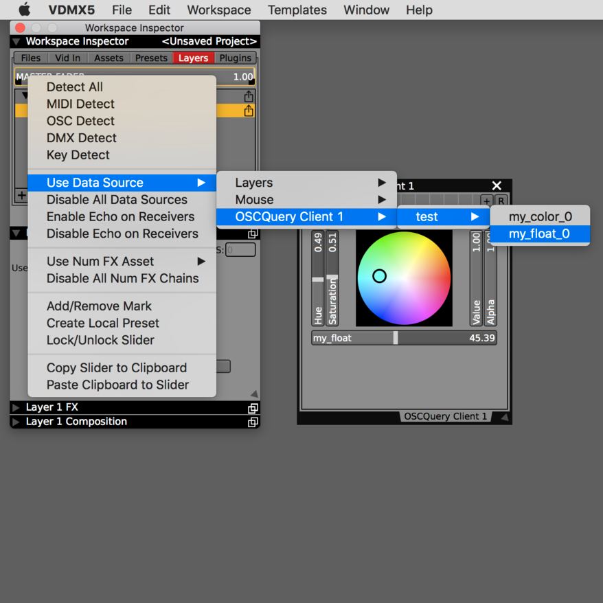 Step 3: Parameters are also available as local data-sources to control sliders, buttons and other UI elements.