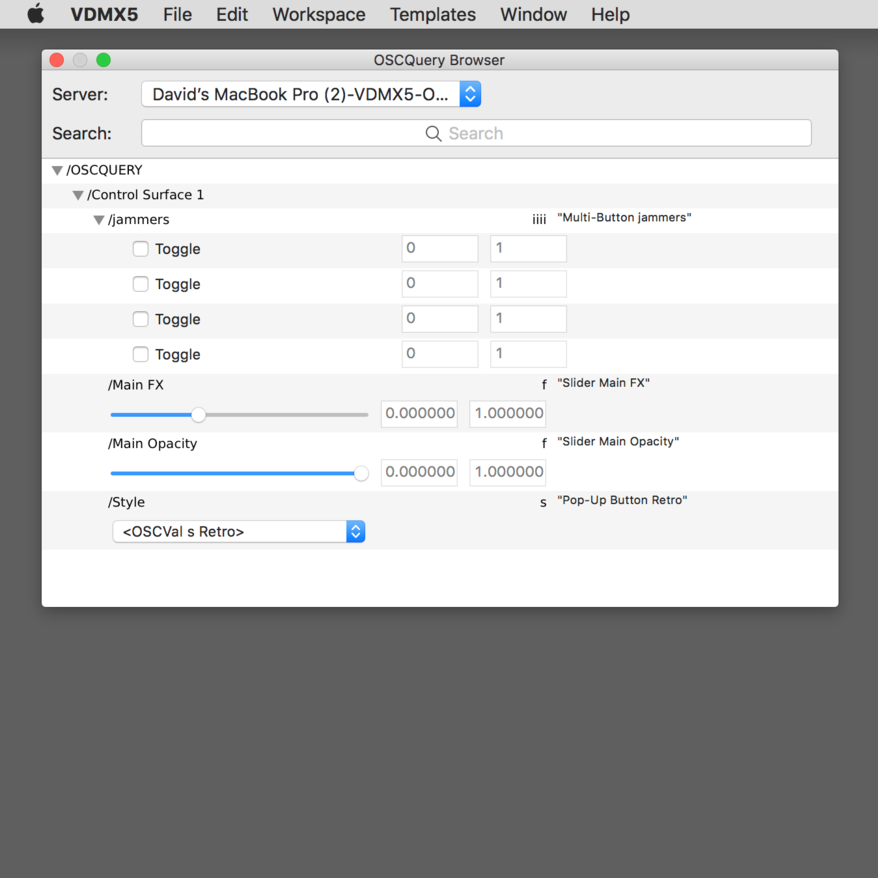 The OSCQuery Browser window can be used to quickly view the address space and access the parameters of remote servers, and more.