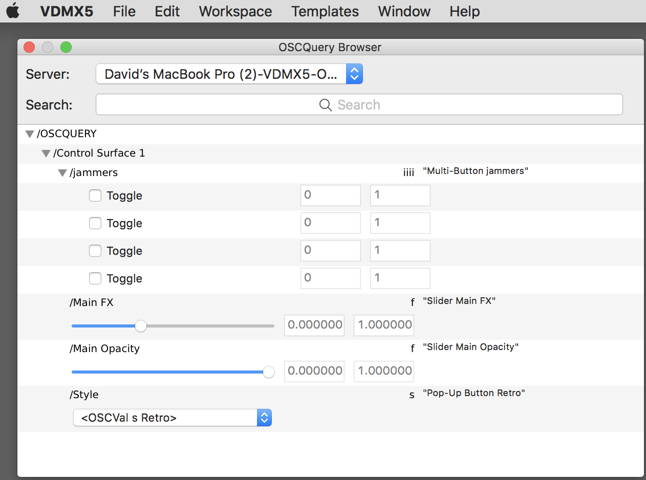 The built-in OSCQuery Browser window, viewing OSC parameters from a remote control surface.