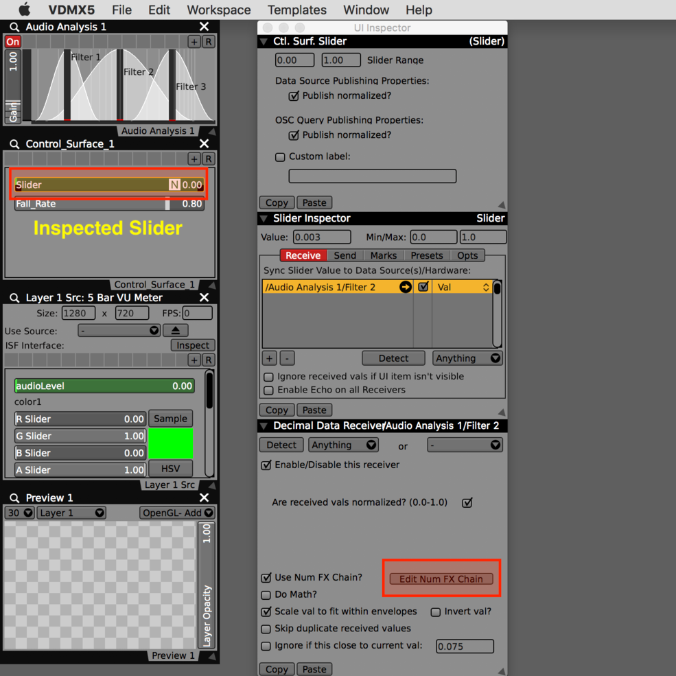 Inspect a slider then use the Edit Num FX Chain button from the sub-inspector.