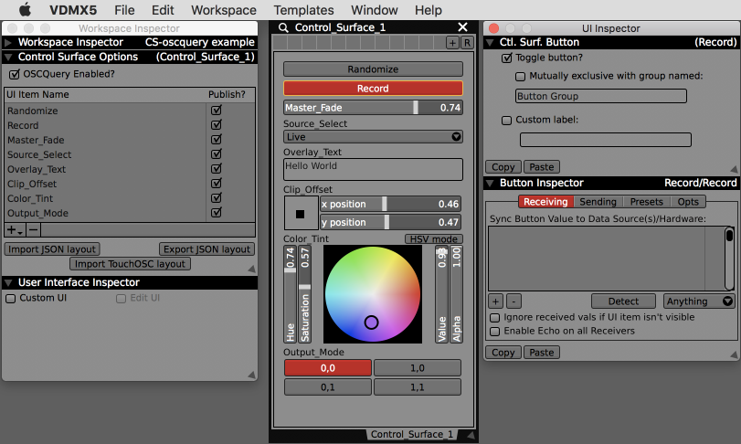 The basic parts of the Control Surface: Setup inspector, main interface with controls and the UI inspector for adjusting settings of individual interface elements.