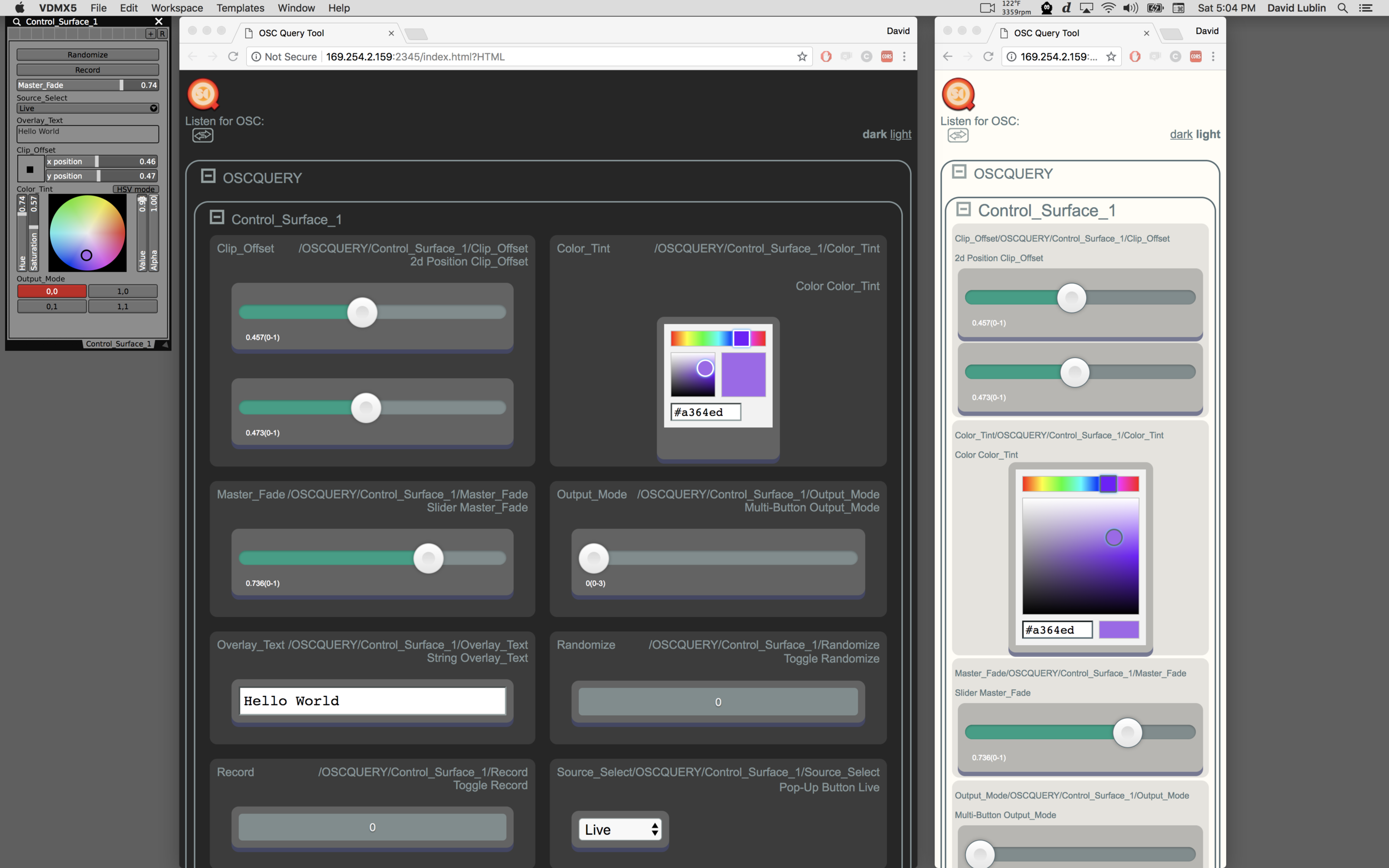 A Control Surface plugin and corresponding web controller views (in dark and light stylings) on a Mac.