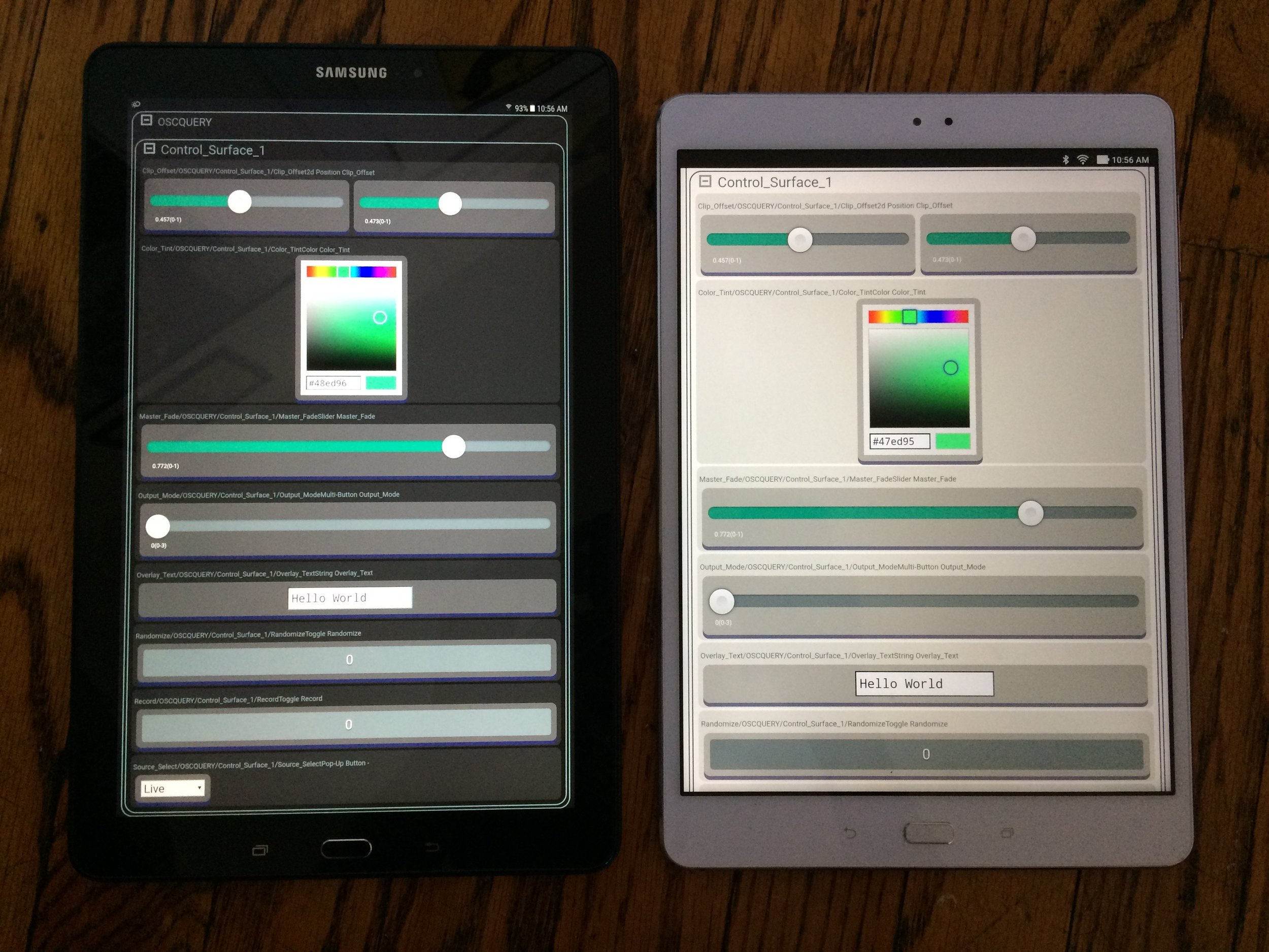 Interactive HTML Interface in Dark and Light styles as viewed on Android tablets from Samsung / Asus.
