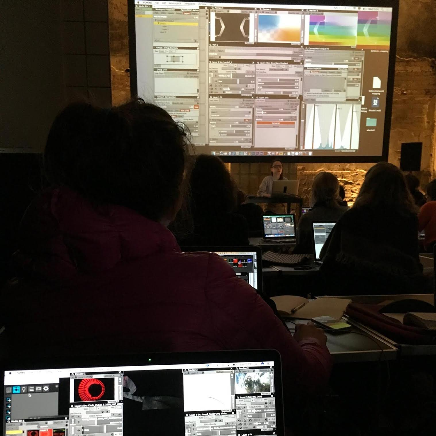 Photo of VJ workshop taught by  Kalma