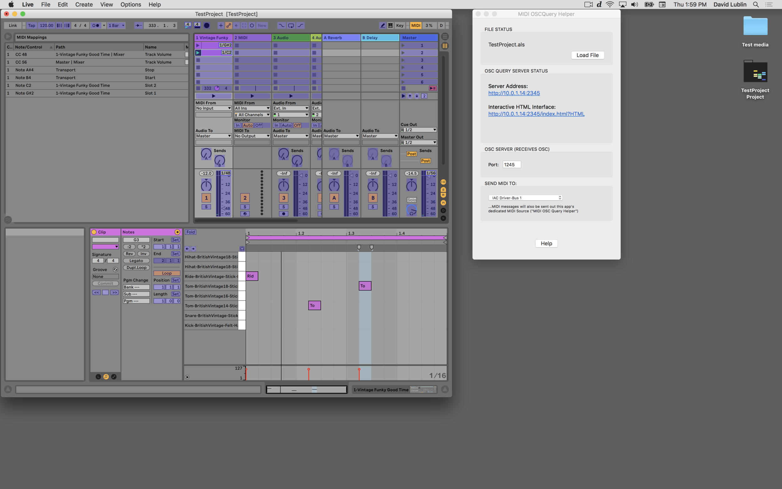 How to control an Ableton Live project from a web browser