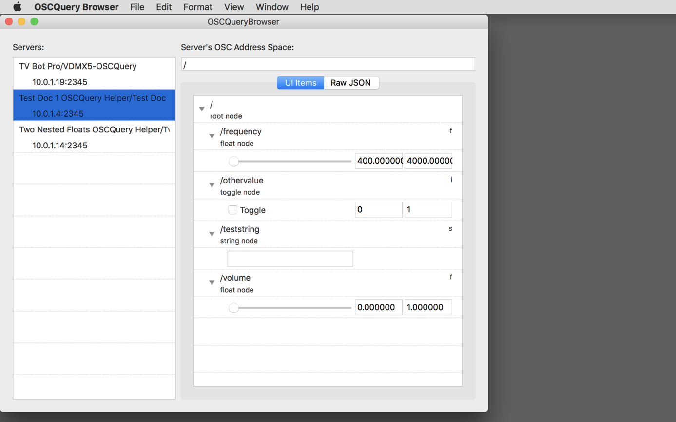 The free  OSCQuery Browser  app can be used to quick test and control remote setups published with OSCQuery.