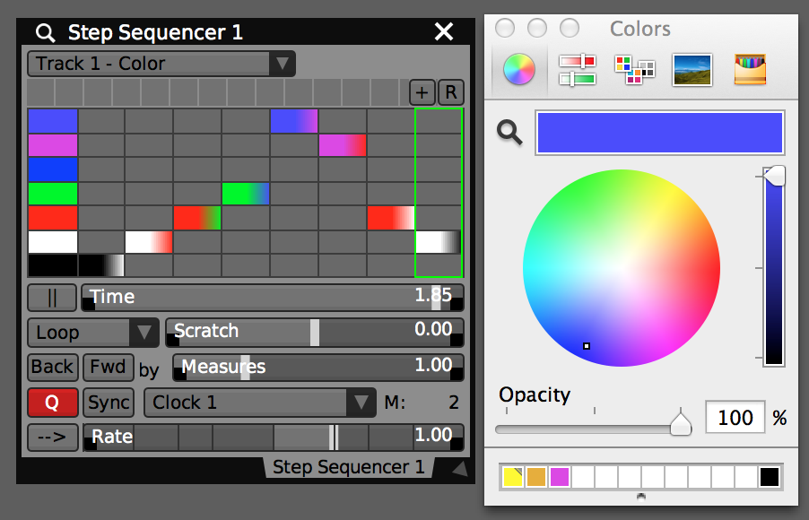 Step Sequencer color tracks  can be used to animate color properties.