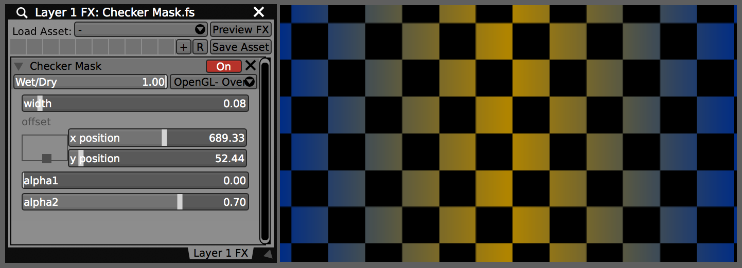 Completed Checker Mask.fs used as an FX in VDMX