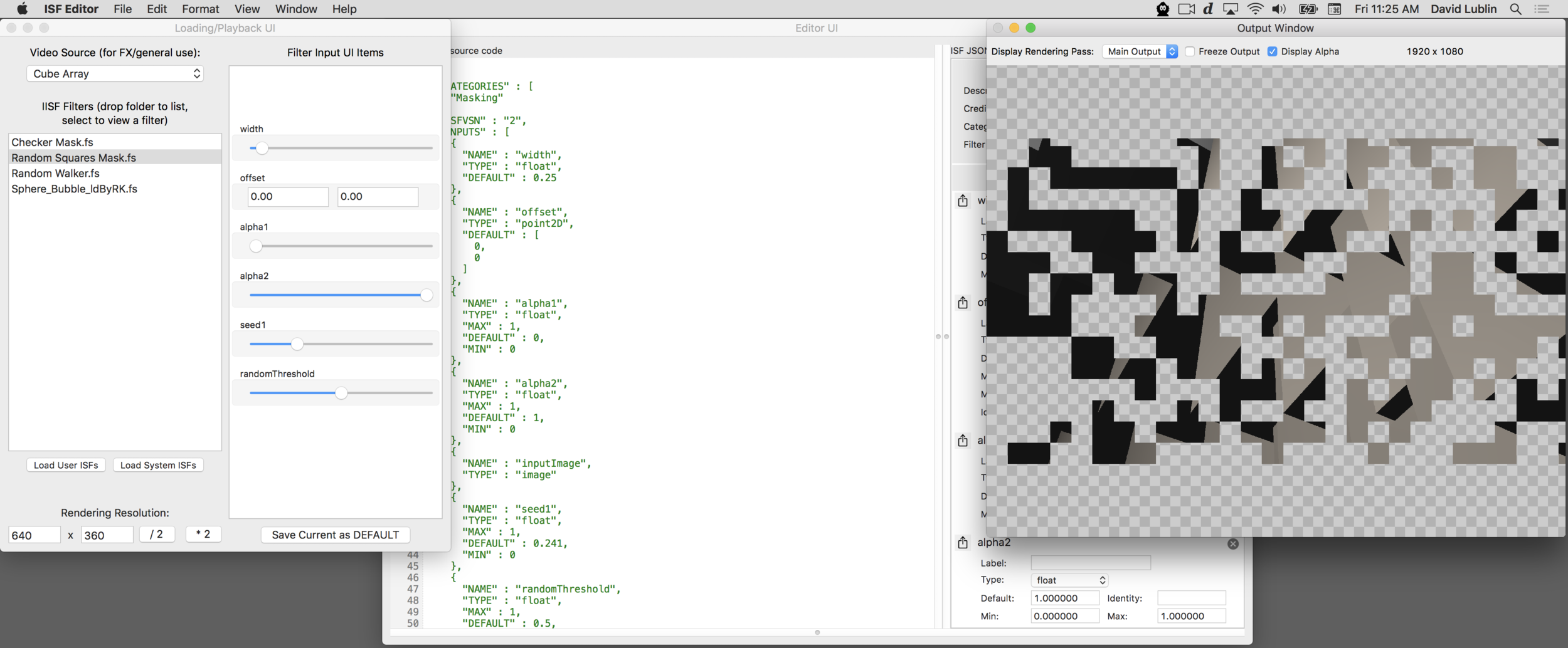 """Creating a GLSL based """"Random Squares Mask"""" FX using the ISF Editor"""