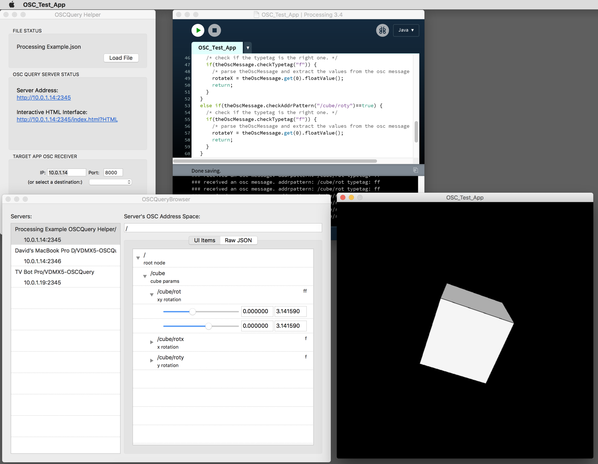The OSCQuery Helper and OSCQuery Browser being used alongside a Processing sketch to render a cube.