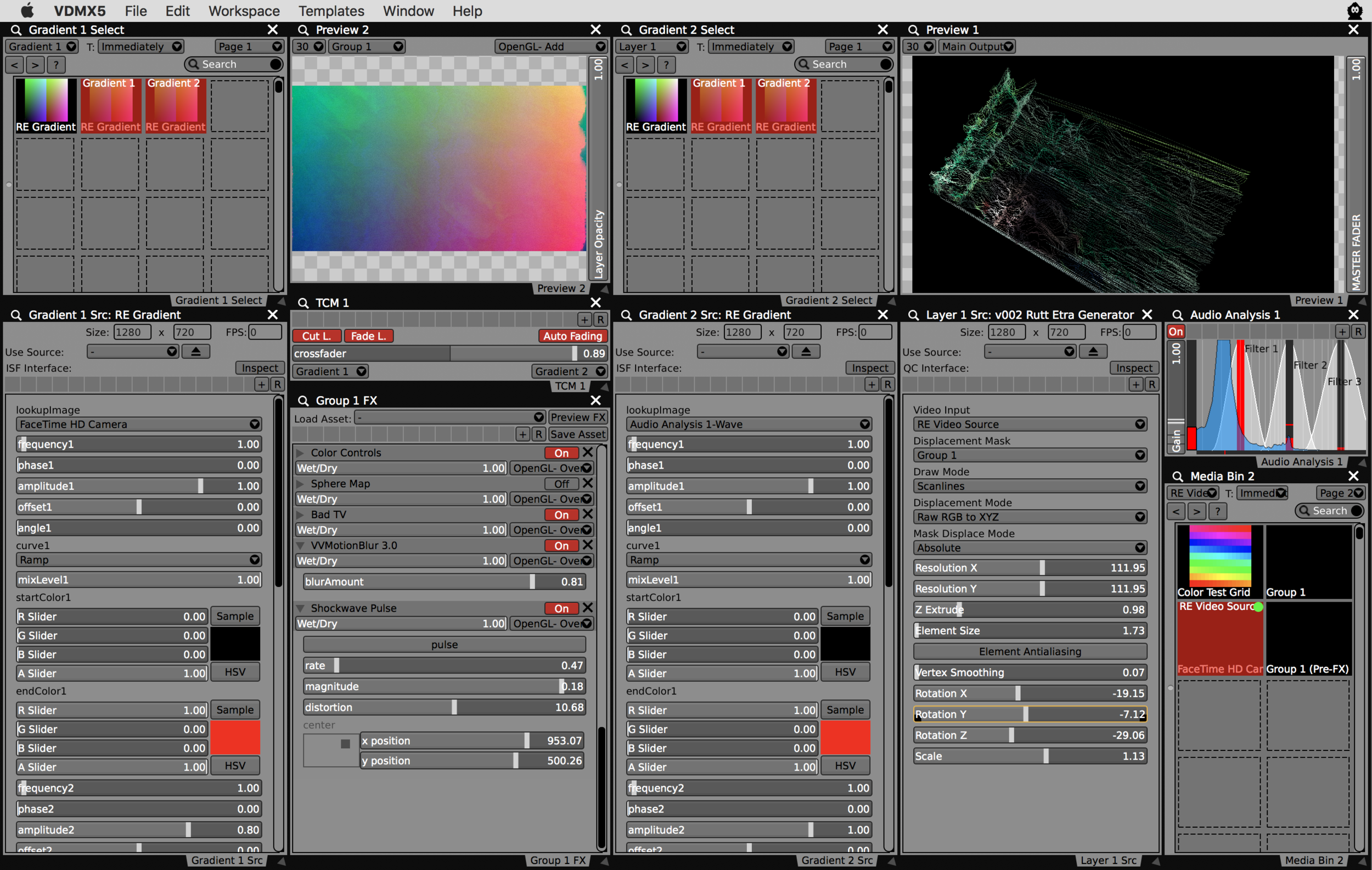 Completed project file for mixing between RGB->XYZ displacement images for the v002 Rutt Etra generator