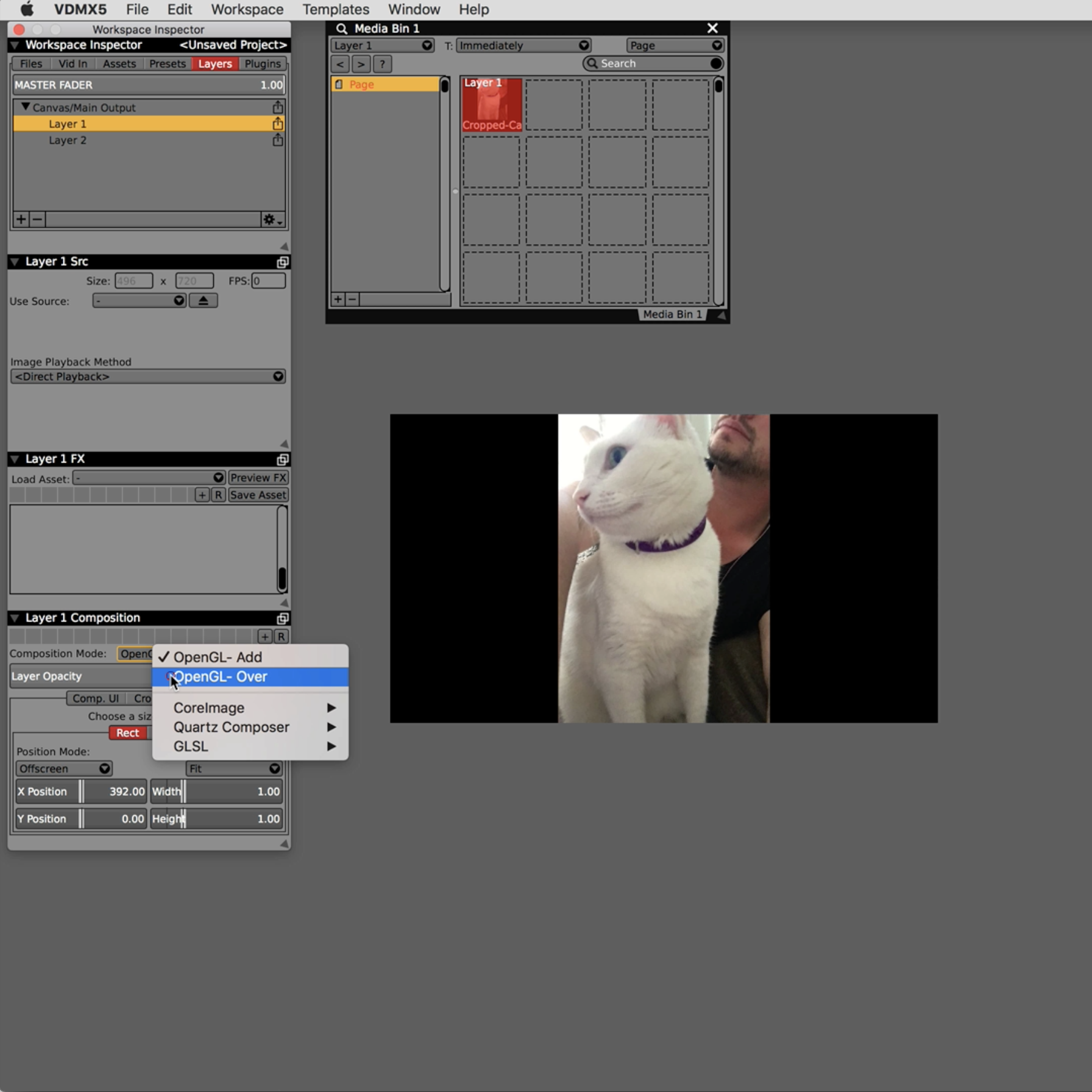 Use OpenGL- Over mode for the top layer.