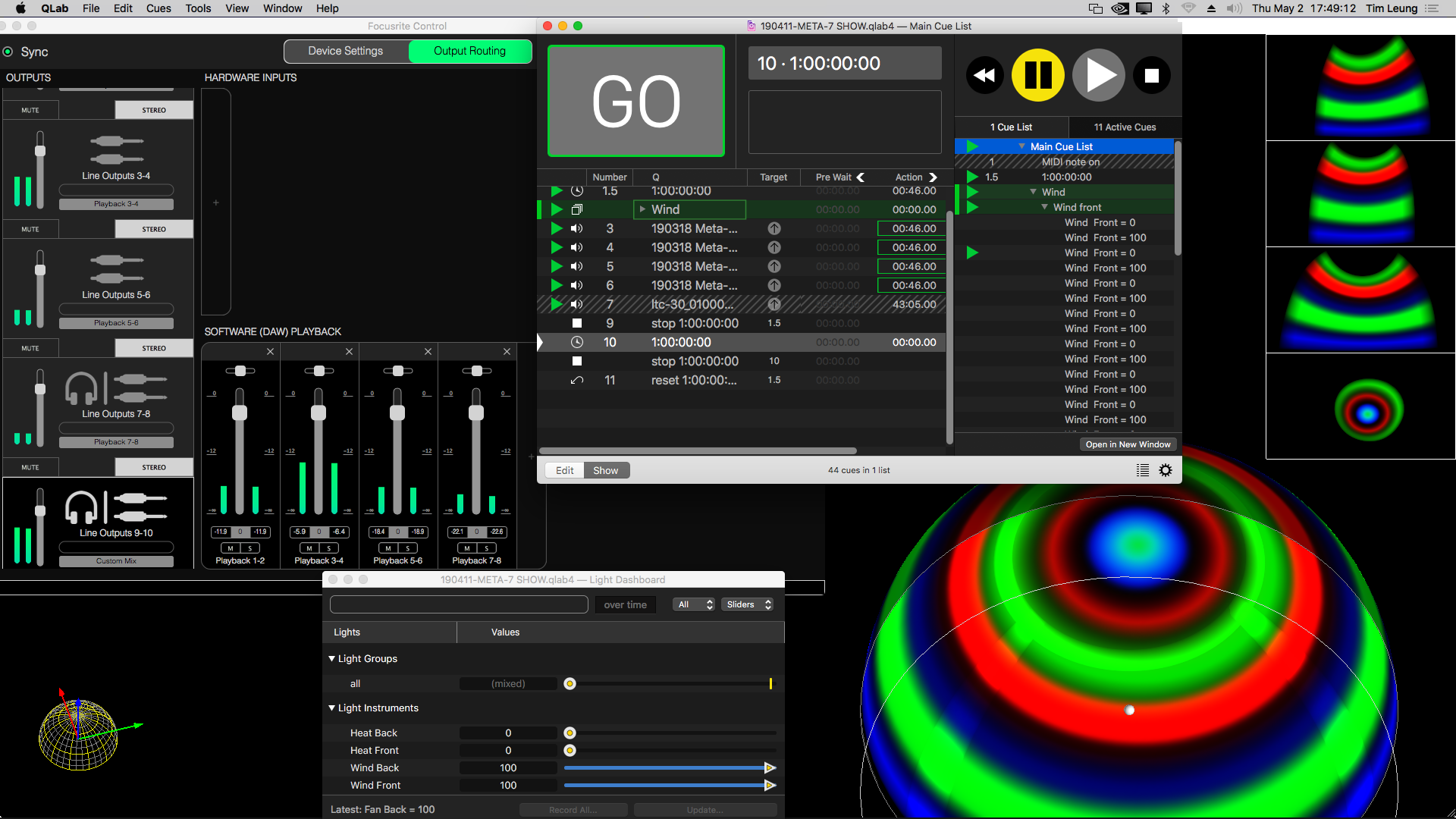 Audio interface control, QLab, Blendydome