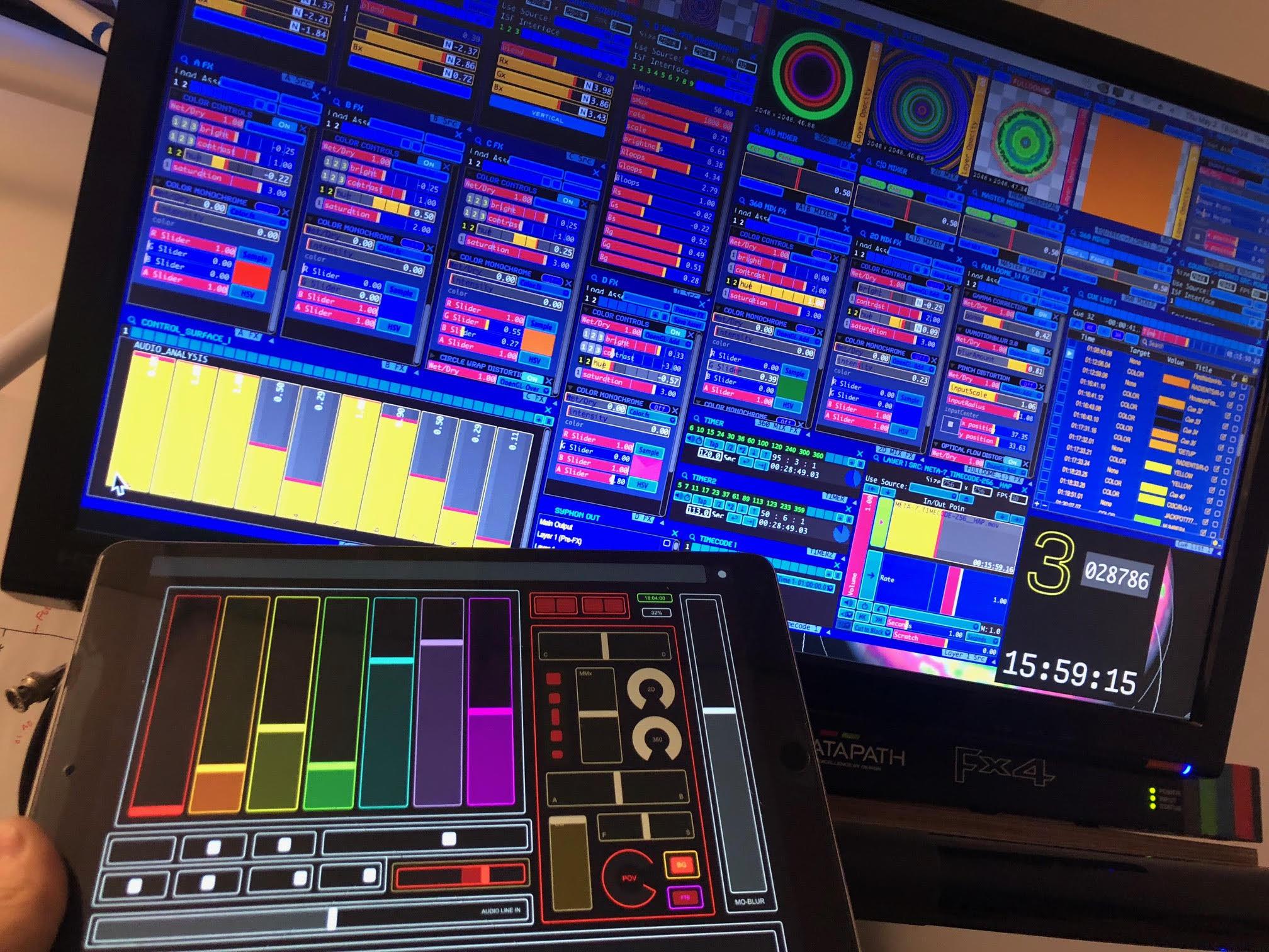 VDMX live mix / dev project, TouchOSC surface