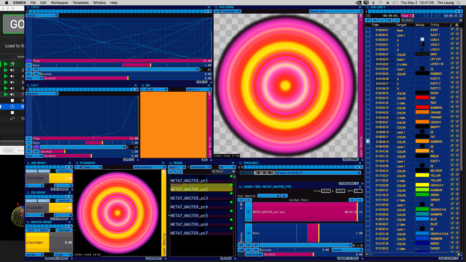 VDMX playback / show project, QLab, Blendydome