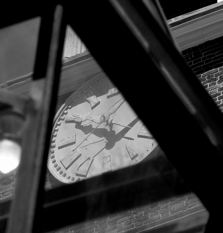 Clock, Beacon Hill meeting house. Legal department operations management.