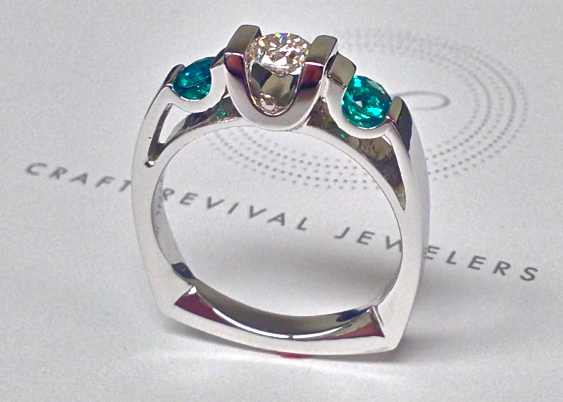 Craft-Revival Jewelers,  engagement ring, diamond engagement ring, diamond ring, modern ring, unique ring, unique engagement ring, three stone ring, emerald and diamond ring