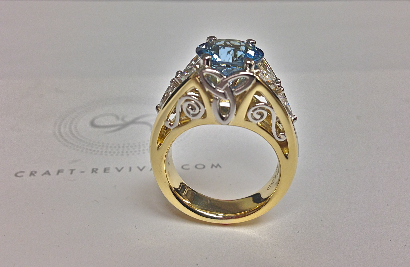 Craft-Revival Jewelers,  engagement ring, diamond engagement ring, diamond ring, modern ring, unique ring, unique engagement ring, aquamarine ring, irish ring, yellow gold ring, celtic ring