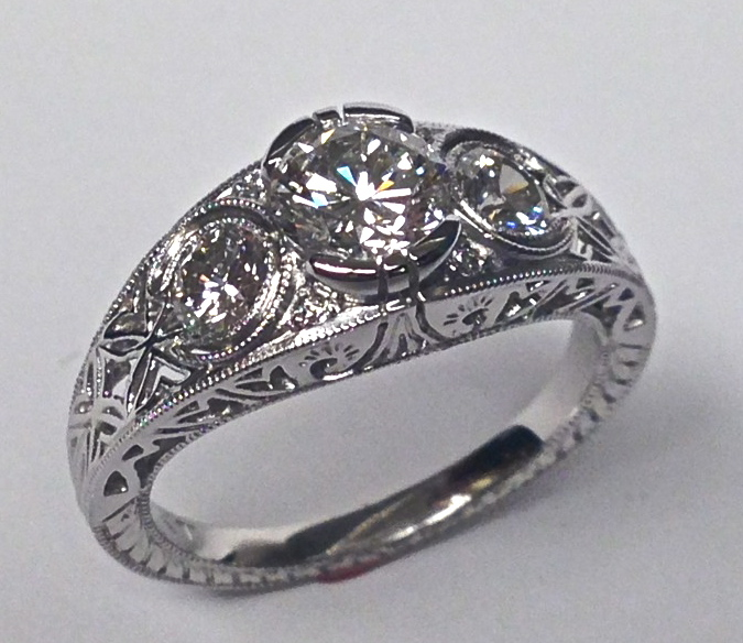 Craft-Revival Jewelers,  engagement ring, diamond engagement ring, diamond ring, modern ring, unique ring, unique engagement ring, antique ring, engraved ring, art deco ring, art deco engagement ring