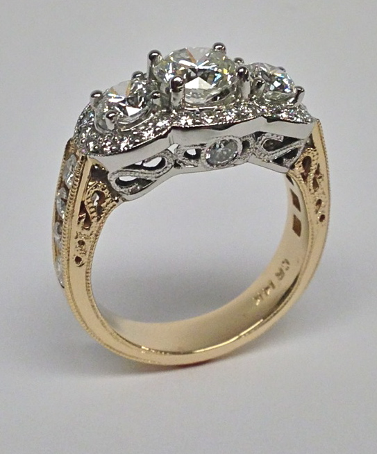 Craft-Revival Jewelers,  engagement ring, diamond engagement ring, diamond ring, modern ring, unique ring, unique engagement ring, three stone ring, halo ring, yellow gold ring,