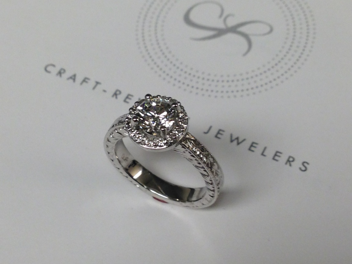 Craft-Revival Jewelers,  engagement ring, diamond engagement ring, diamond ring, modern ring, unique ring, unique engagement ring, antique ring, engraved ring, halo ring, halo engagement ring