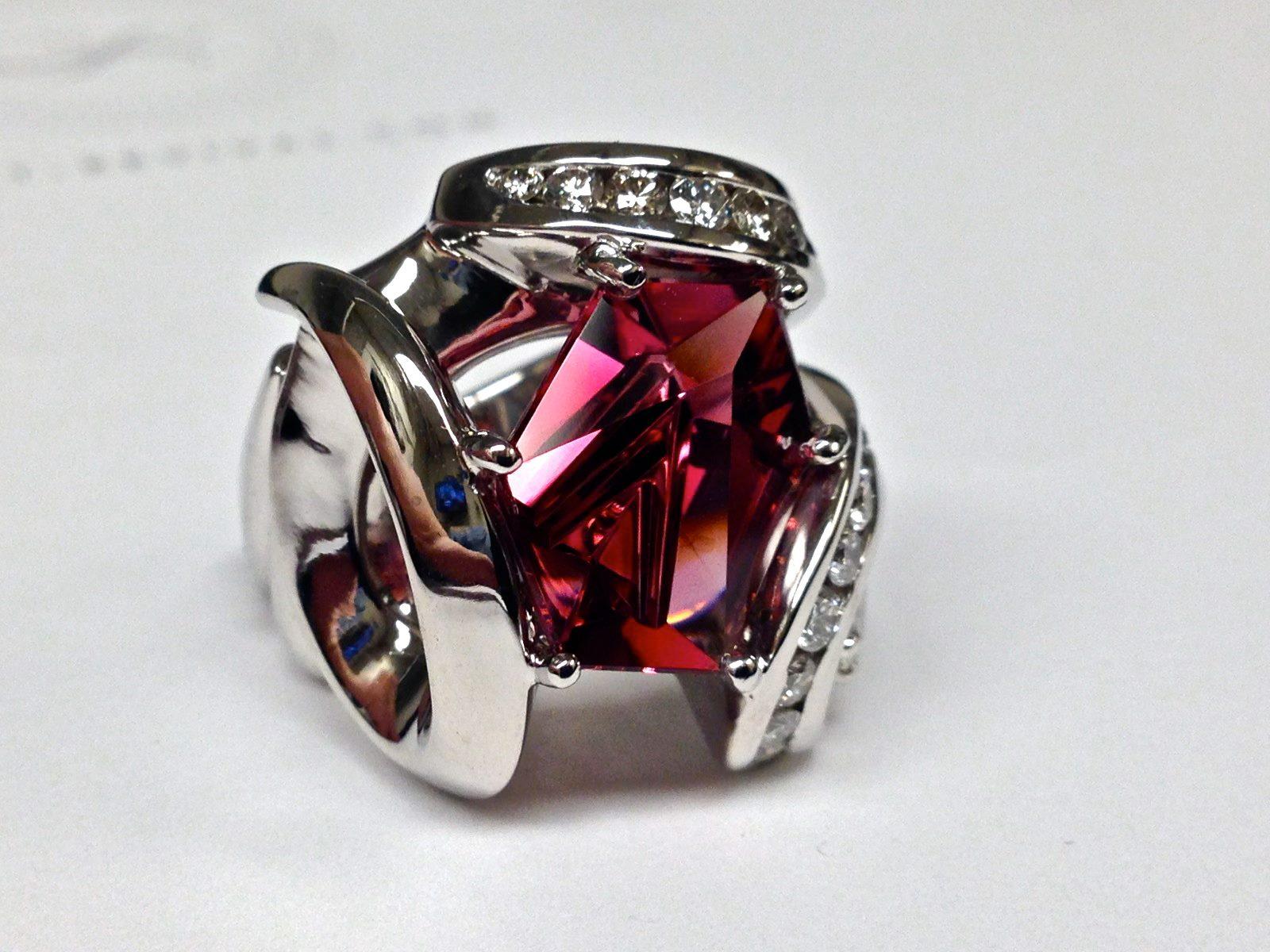 Craft-Revival Jewelers, Pink tourmaline ring, tourmaline ring, munstiner gemstone, gemstone ring